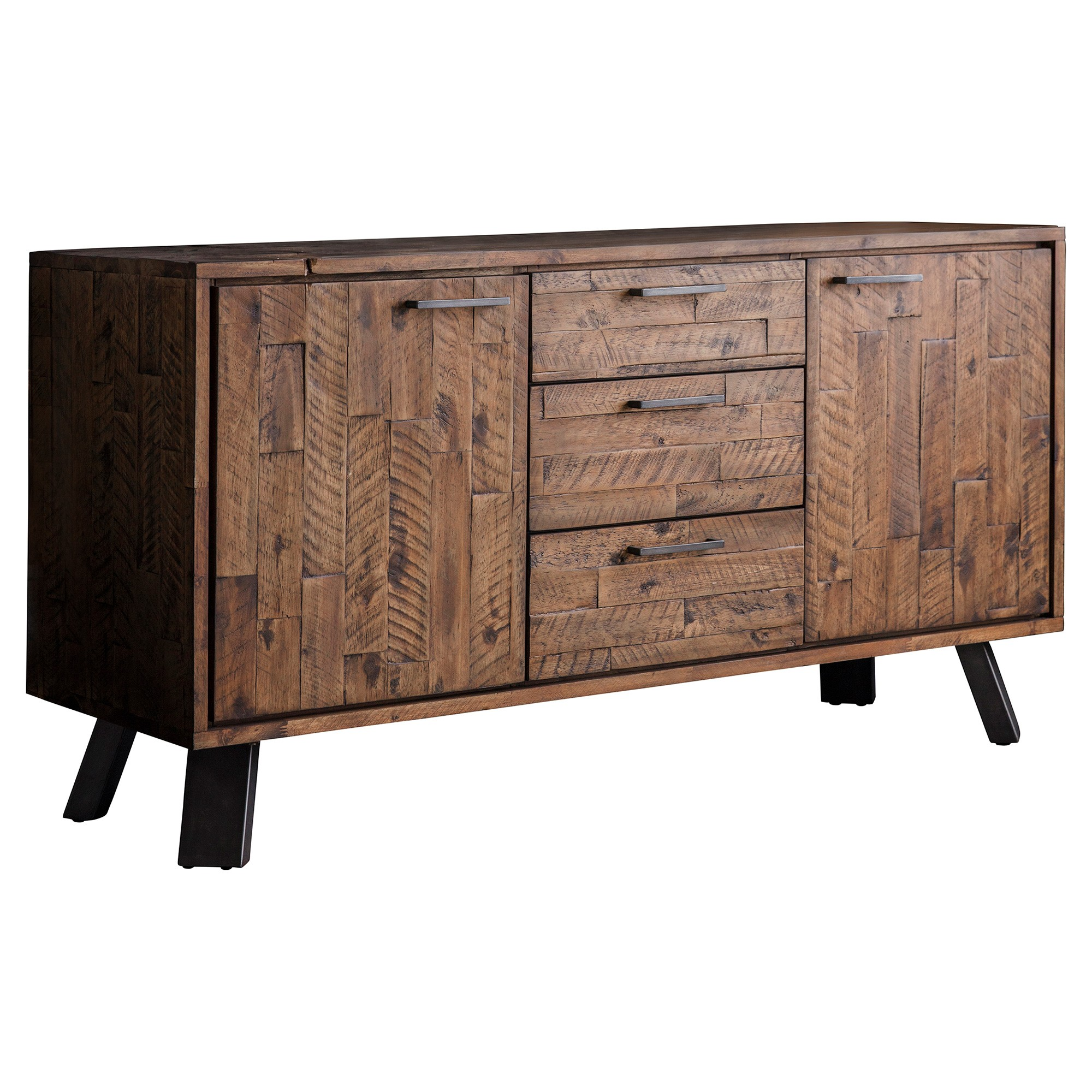 Connie Rustic Acacia Timber & Metal 2 Door 3 Drawer Sideboard, 140cm