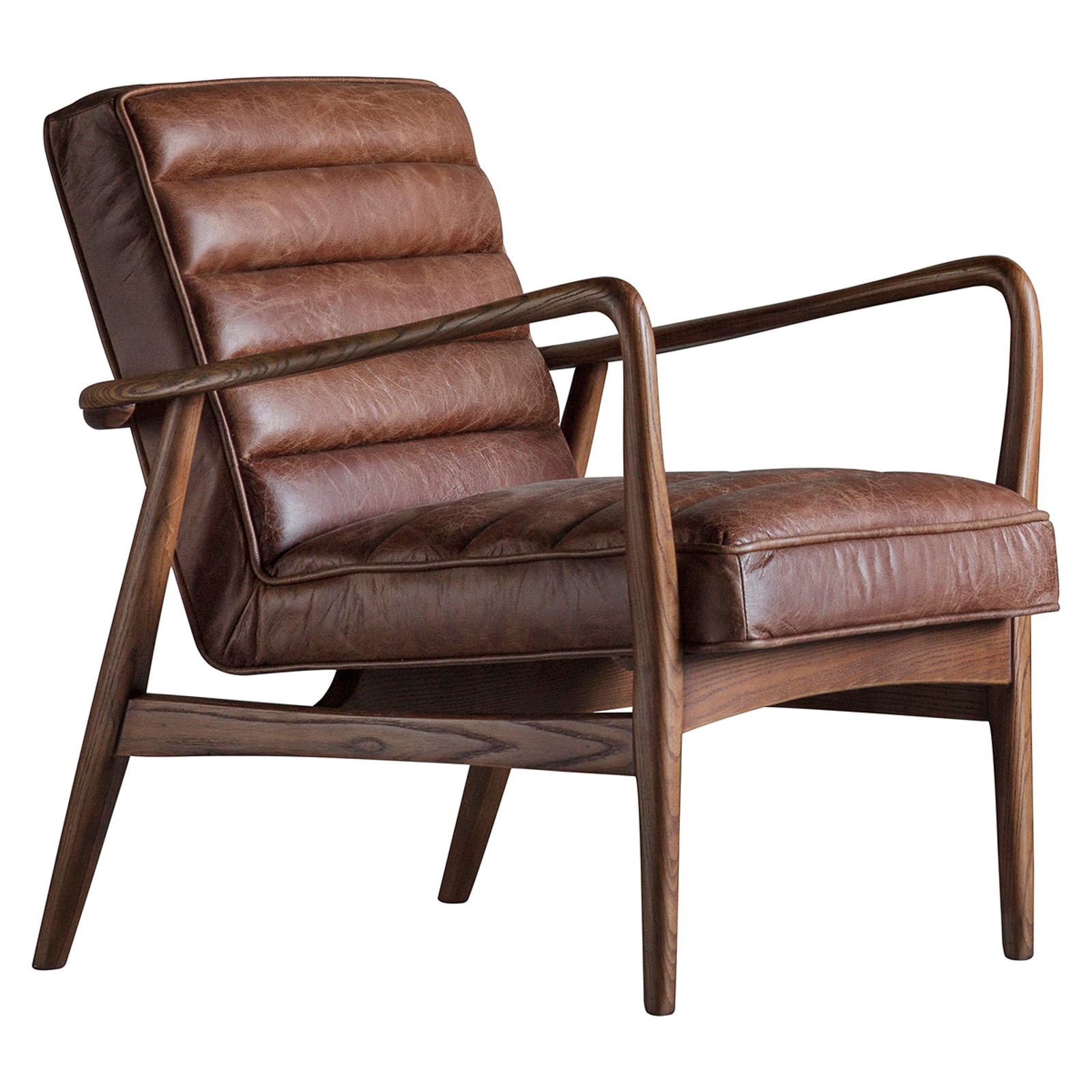 Danny Top Grain Leather & Timber Armchair, Antique Brown