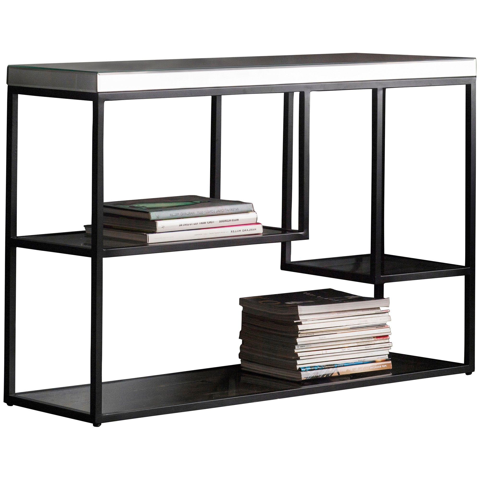 Parker Mirror & Metal Console Table, 120cm, Black