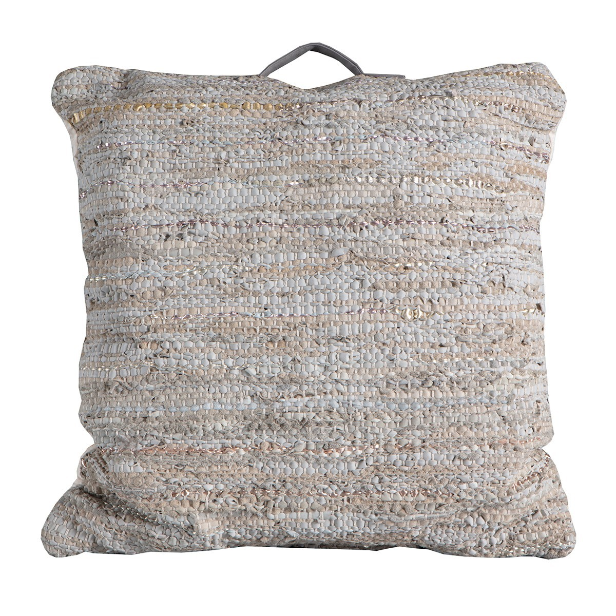 Pluto Braided Leather Floor Cushion, Cream / Grey