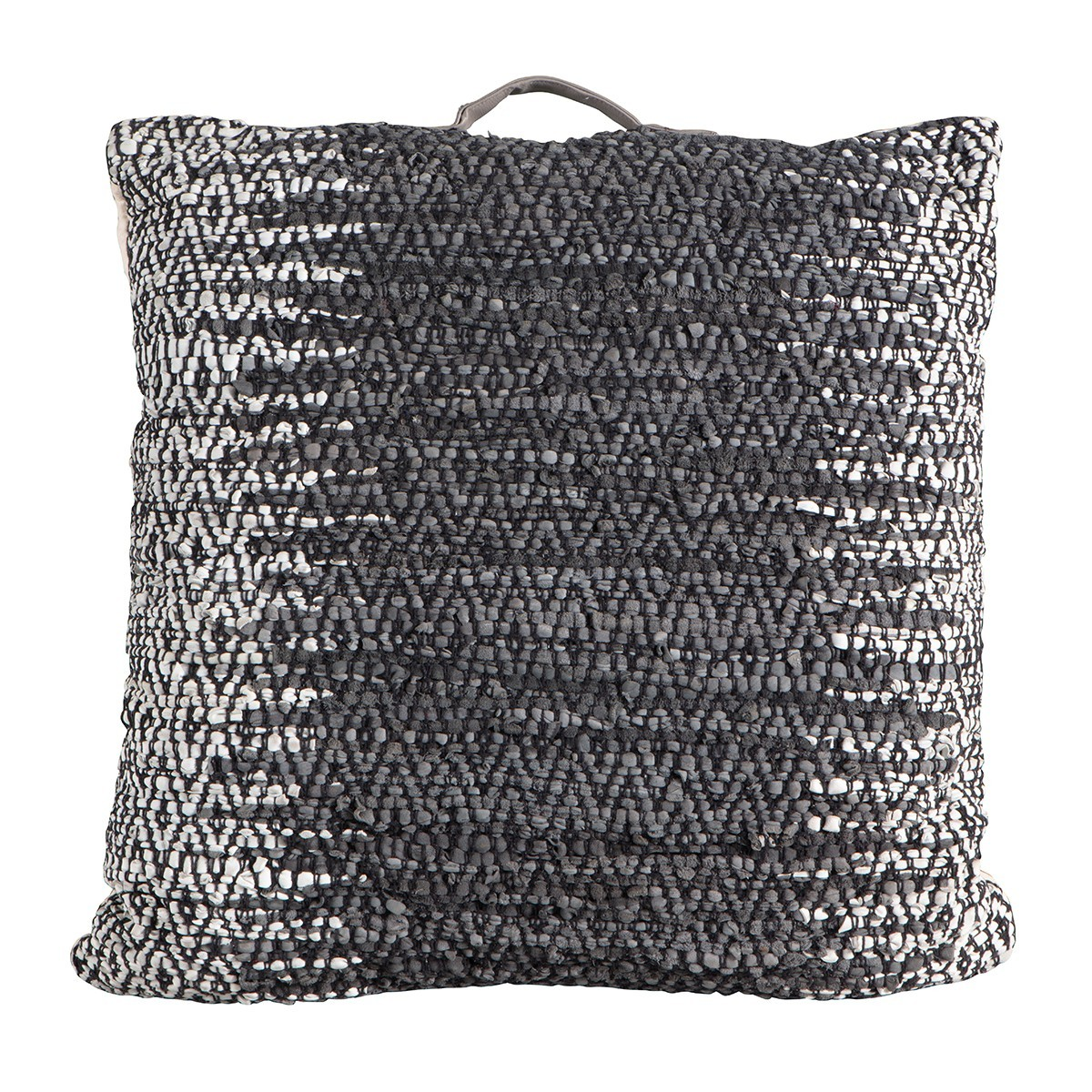 Garcia Braided Leather Floor Cushion, Charcoal