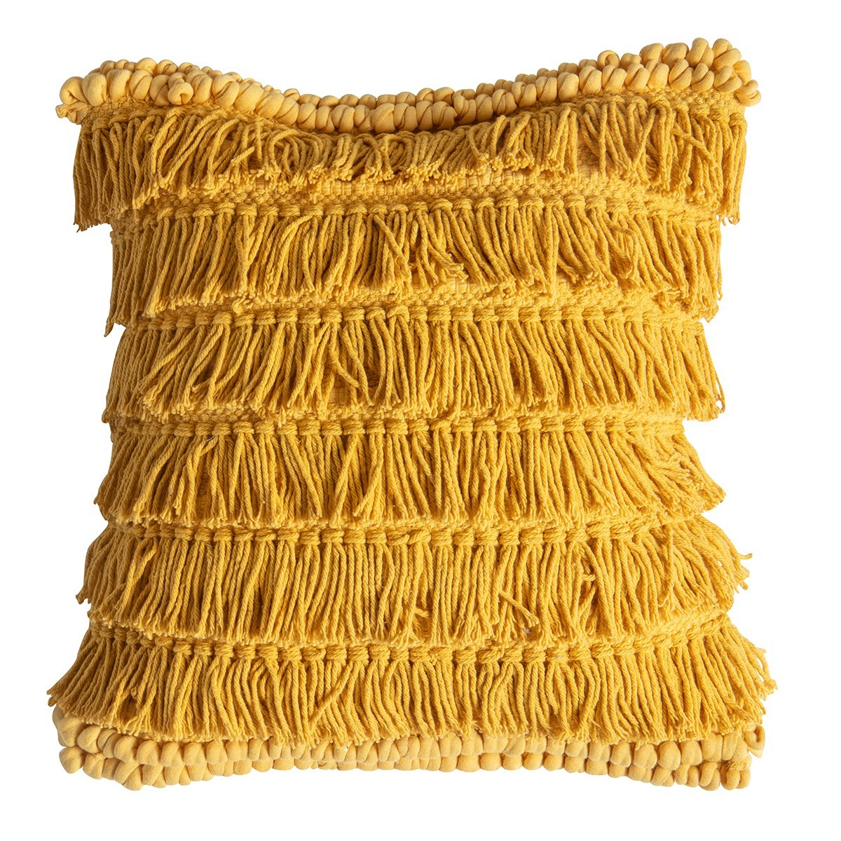 Tyler Cotton Fringed Scatter Cushion, Ochre