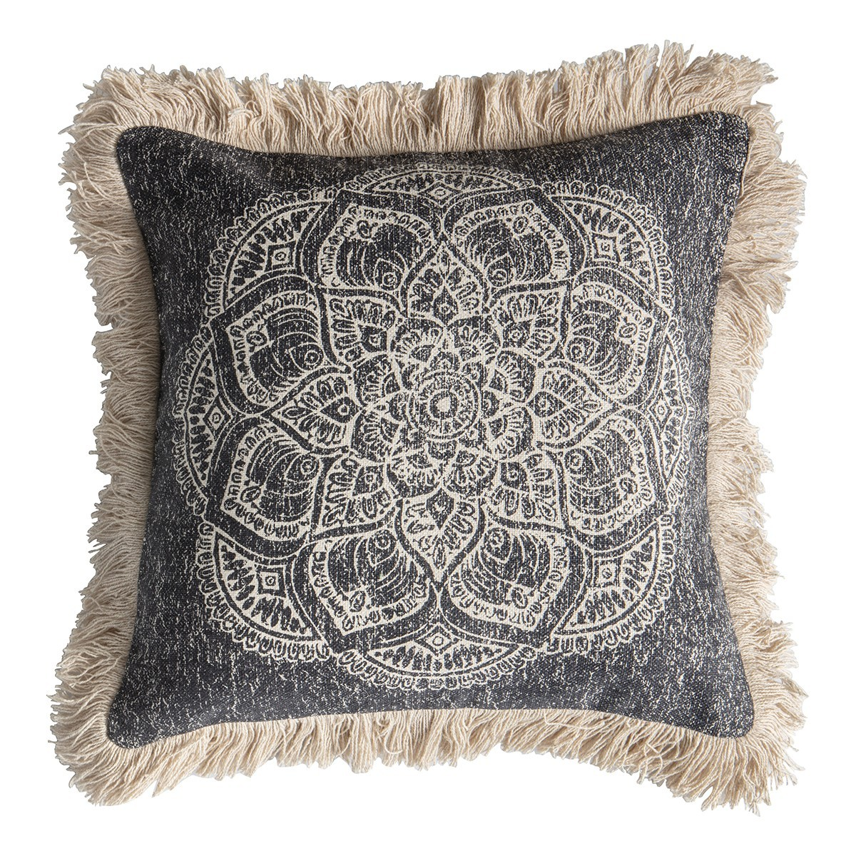 BAshtonco Medallion Feather Filled Fringed Cotton Scatter Cushion