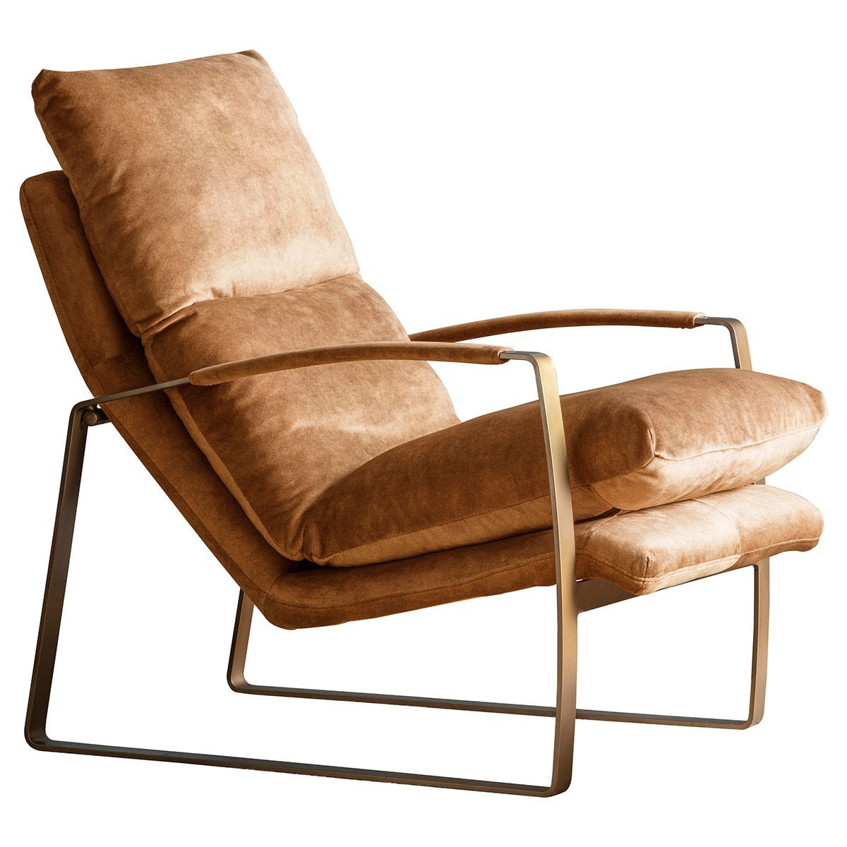 Freya Fabric & Metal Lounge Armchair, Ochre