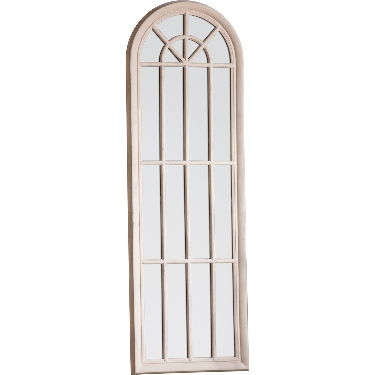 Calam Arch Panelled Window Floor Mirror, 180cm, Antique White