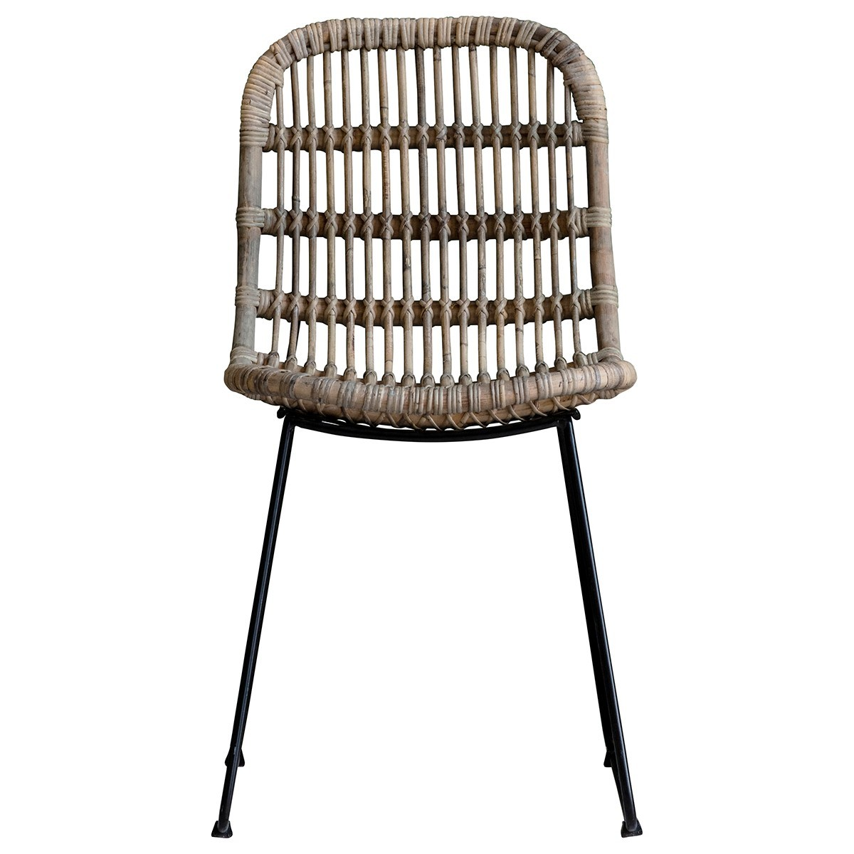 Vestil Rattan & Iron Dining Chair, Set of 2, Natural