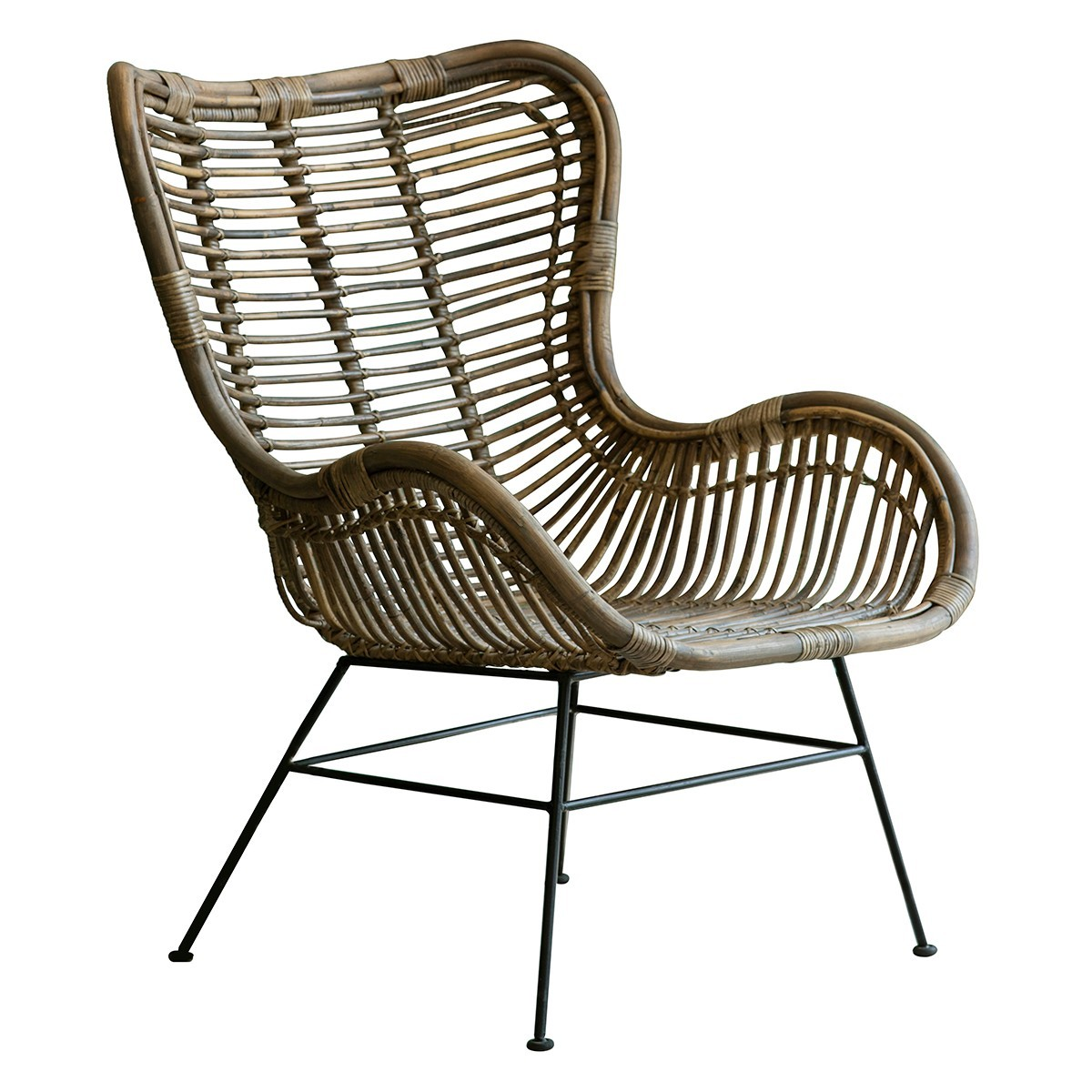 Vestil Rattan & Iron Lounge Chair, Natural
