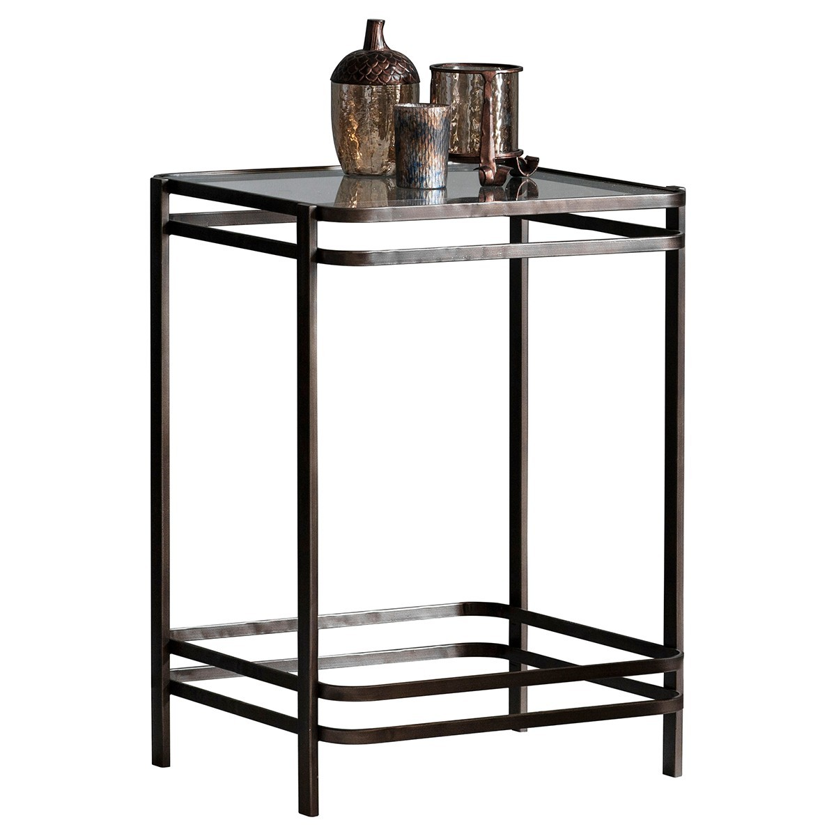 Reuben Glass Topped Metal Side Table