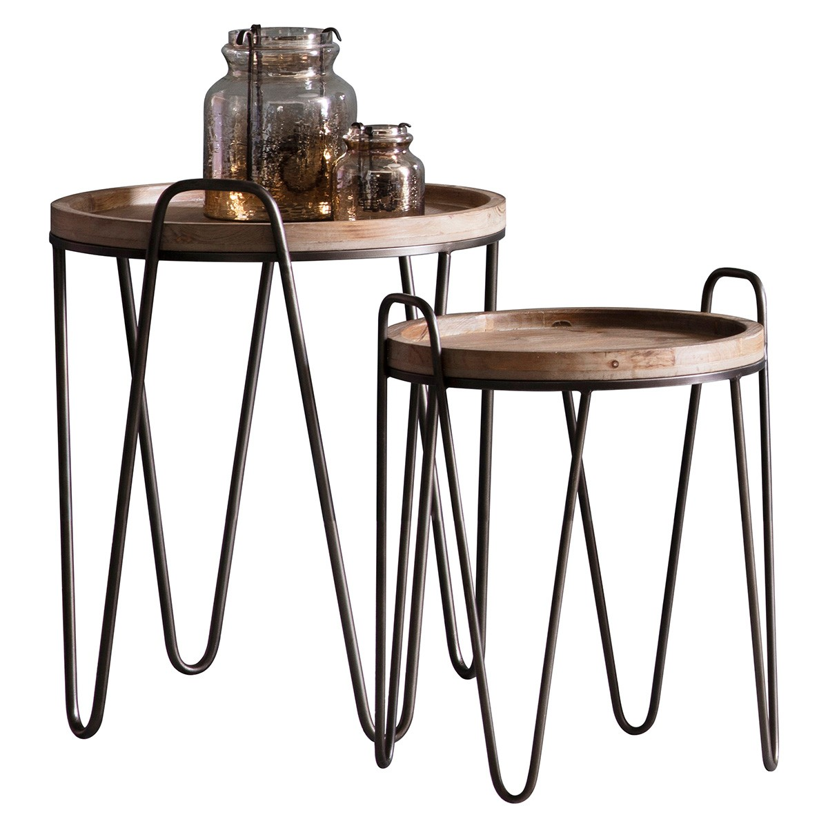 Navarro 2 Piece Fir Timber & Metal Nesting Side Table Set