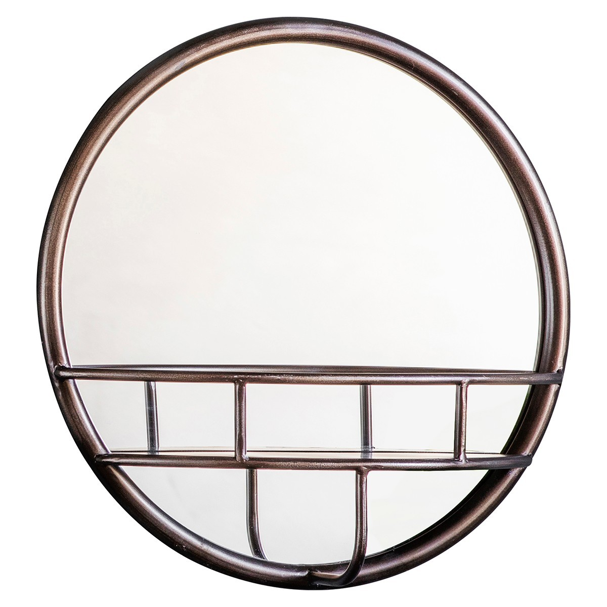 Macey Iron Frame Wall Mirror, Round, 40cm