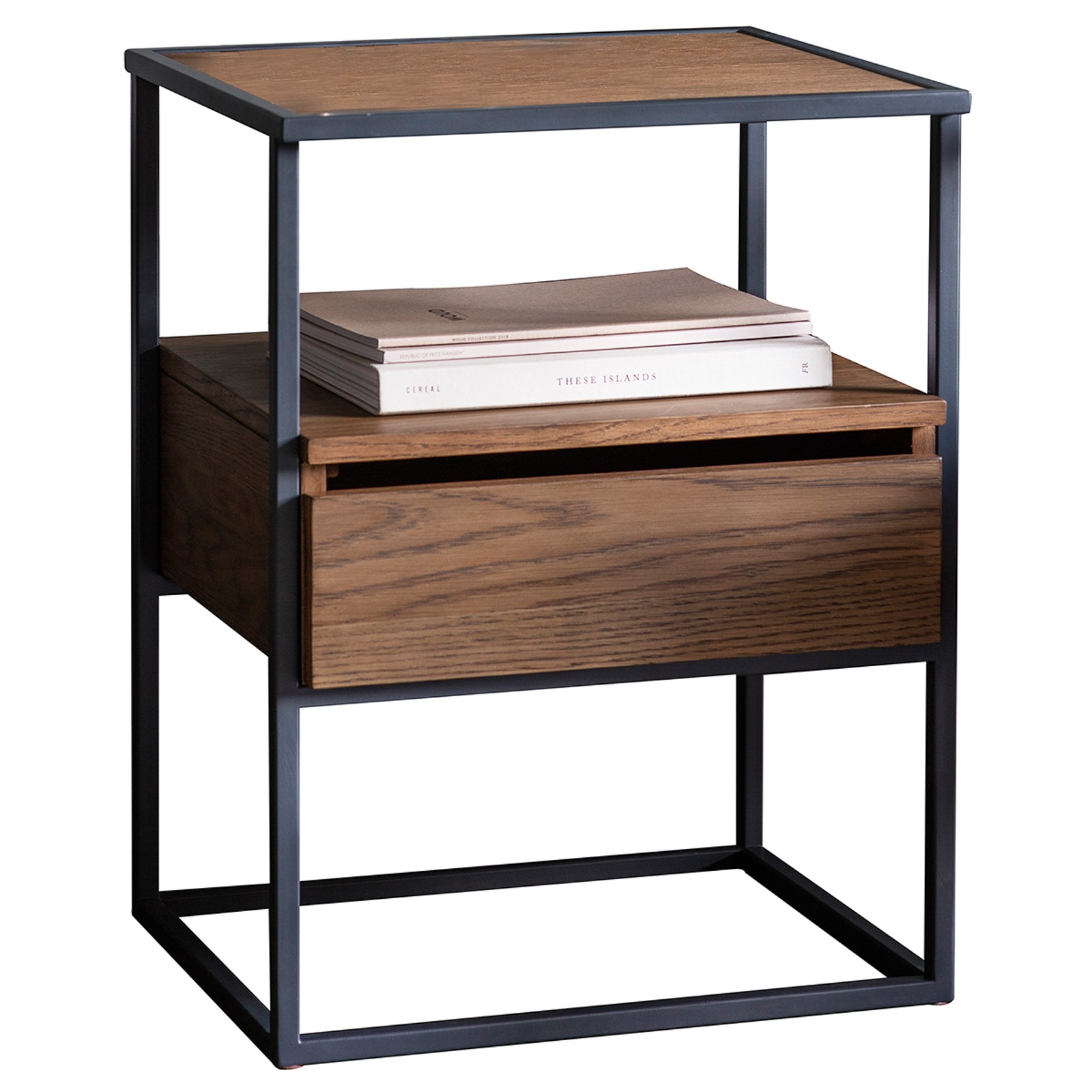 Mylee Pine Timber & Metal Side Table, Light Walnut