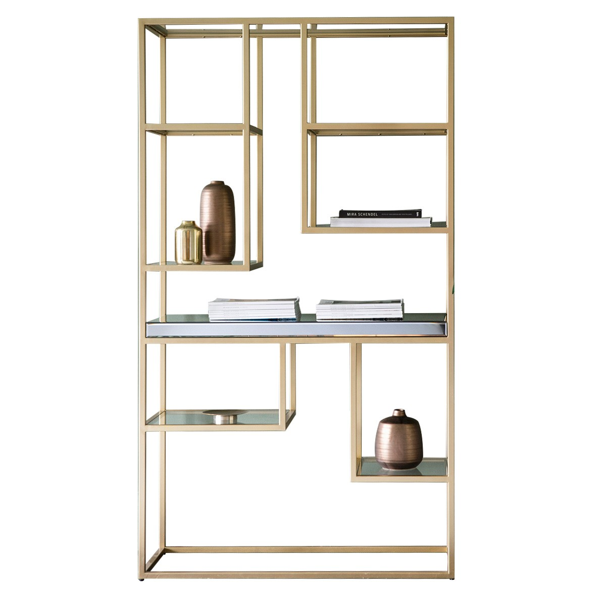 Parker Mirror & Metal Display Shelf, Champagne