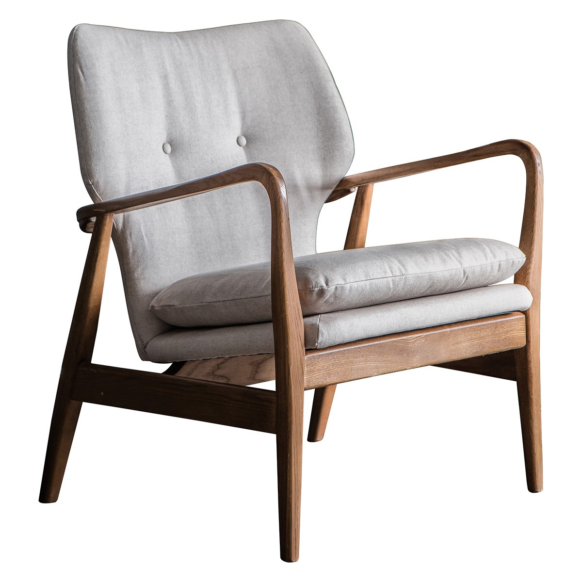 Jepson Fabric & Oak Timber Armchair, Natural