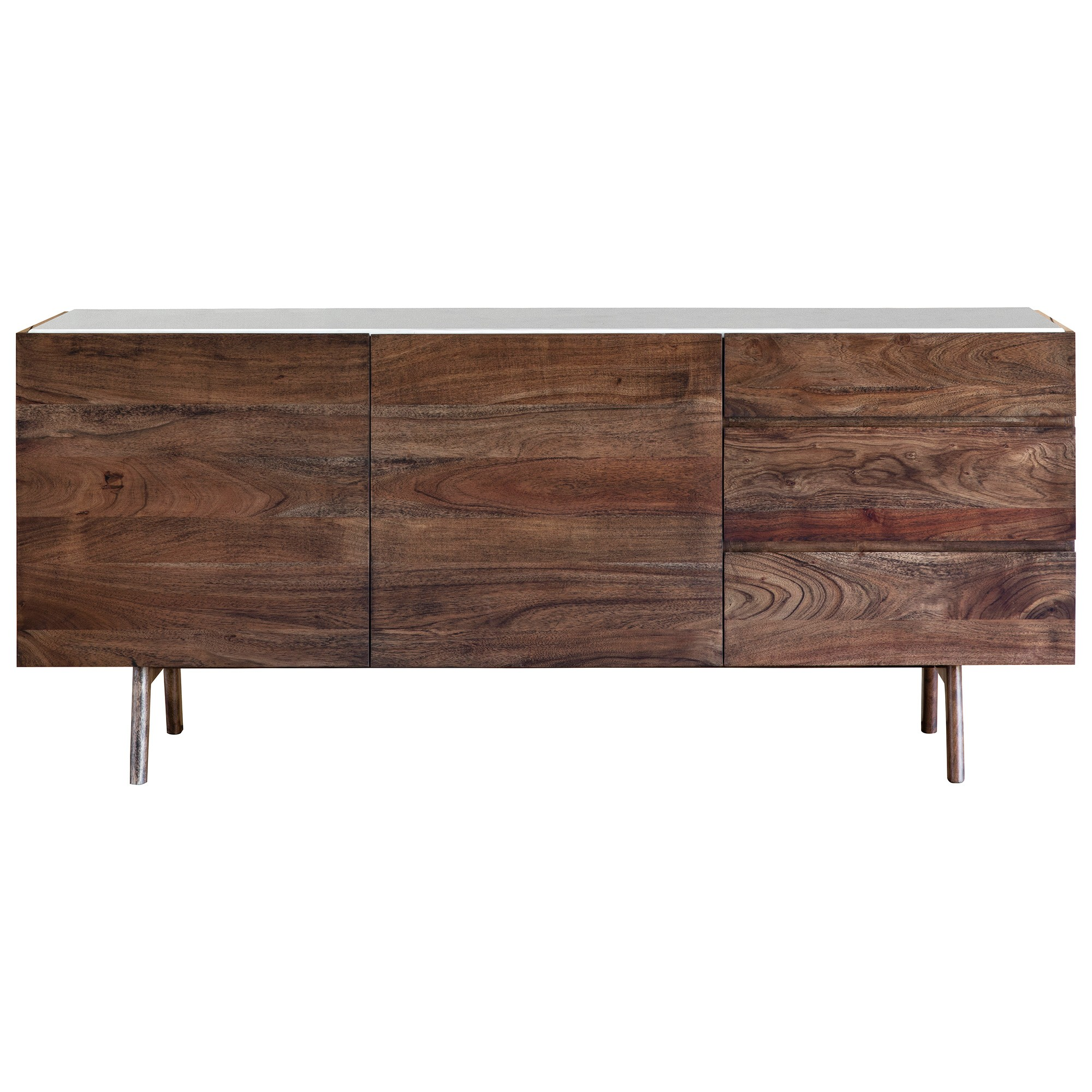 Burford Marble Topped Acacia Timber 2 Door 3 Drawer Sideboard, 160cm