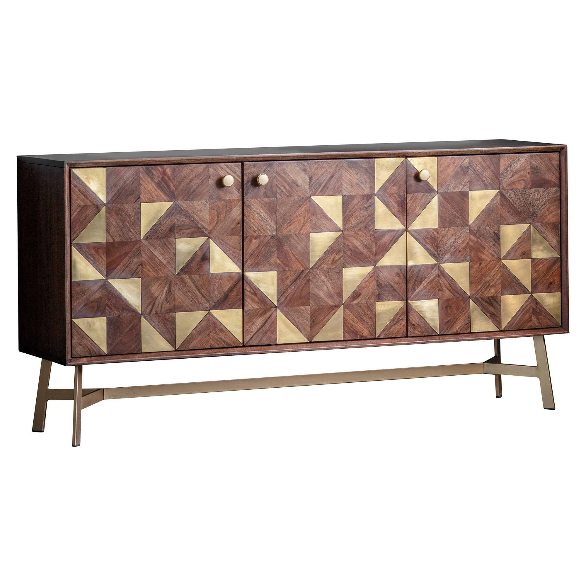 Toth Acacia Timber 3 Door Sideboard, 142cm