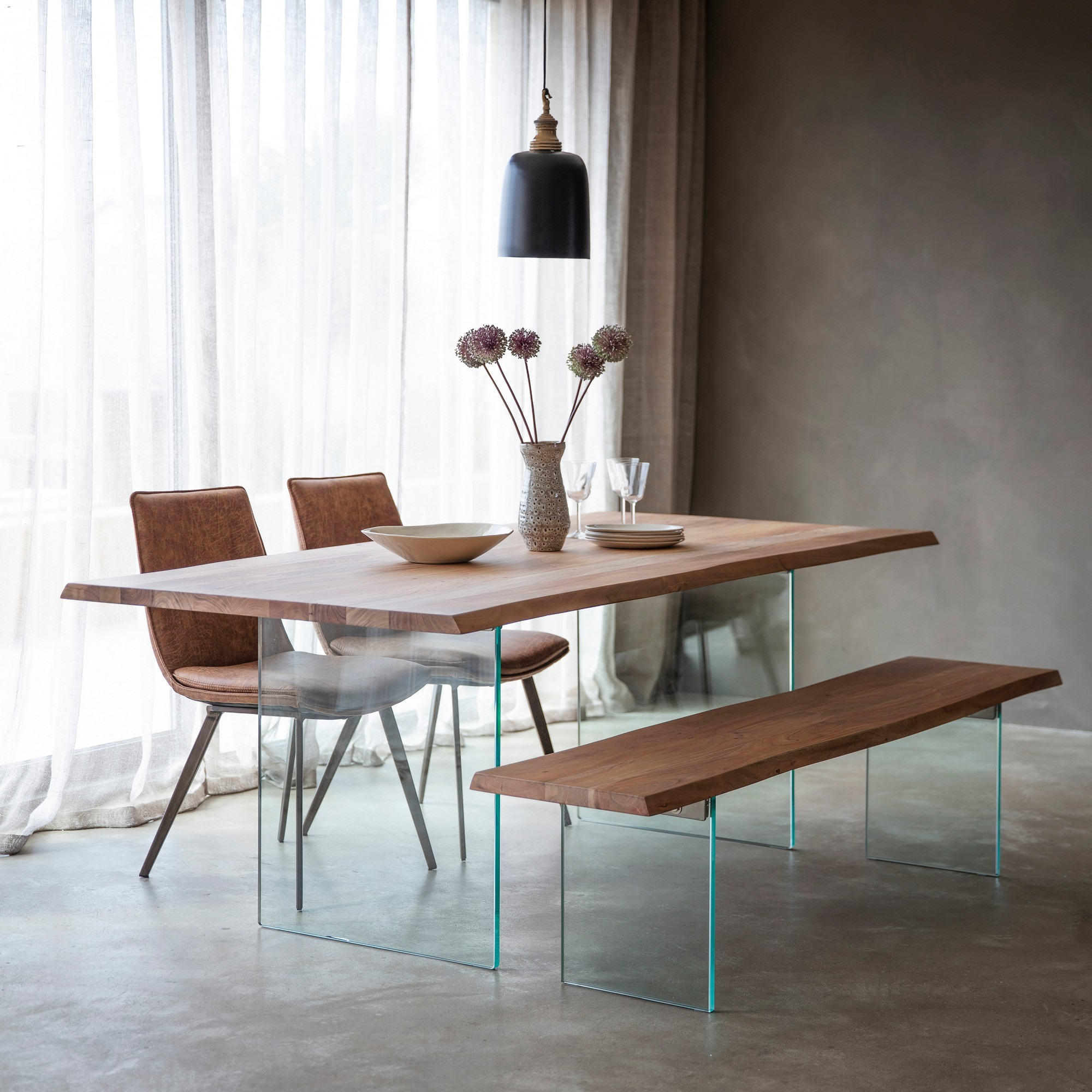 Ferdo Acacia Timber & Glass Dining Table, 200cm
