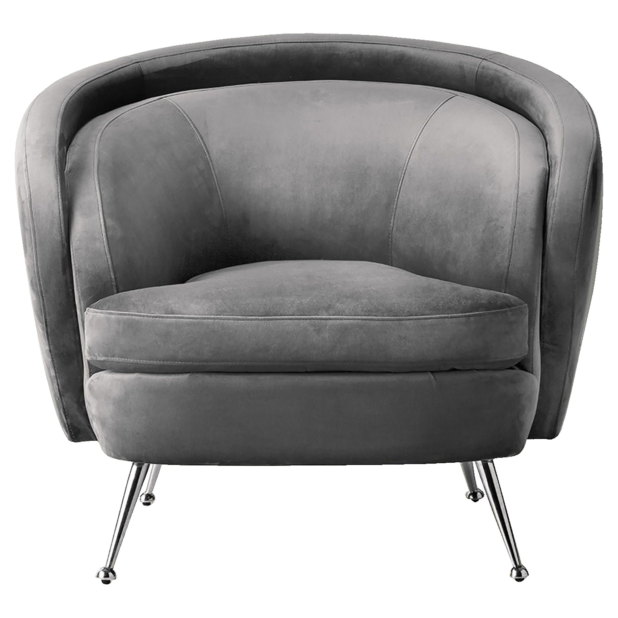 Tania Velvet Fabric Tub Chair, Grey