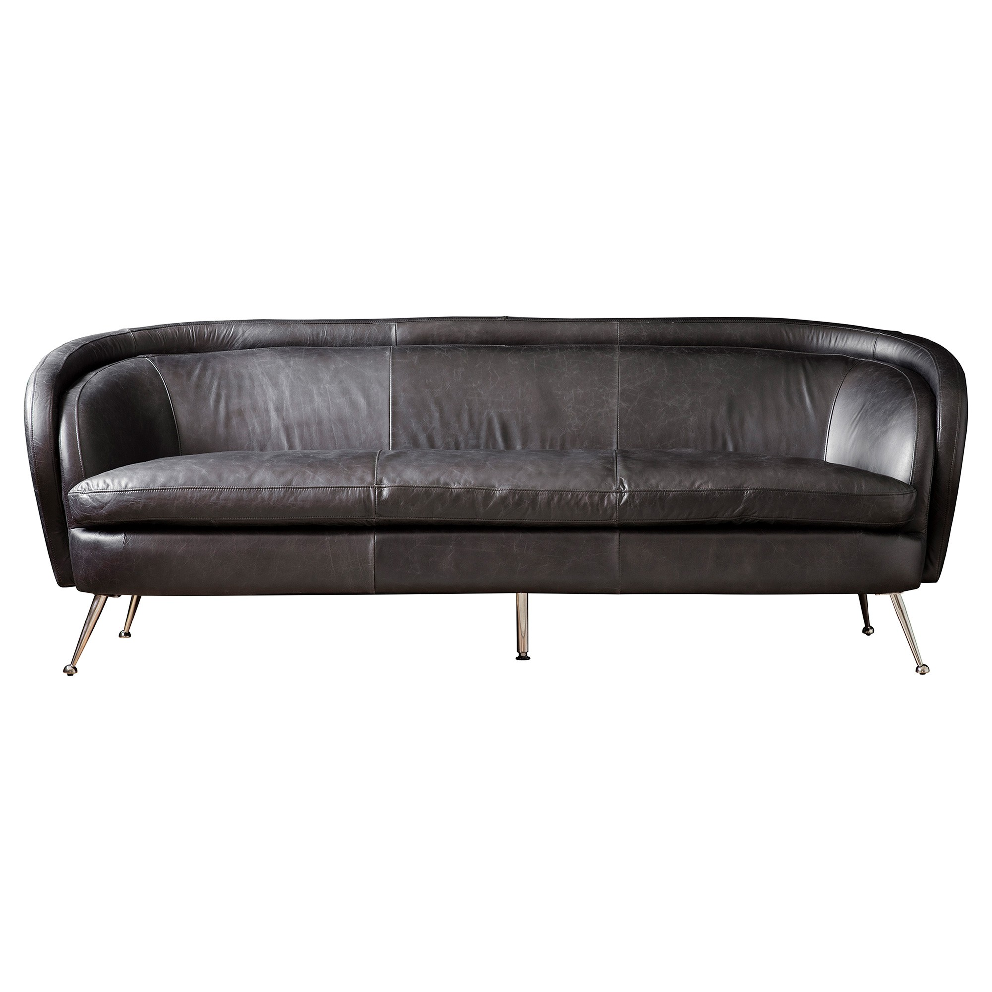 Tania Leather Sofa, 3 Seater, Black