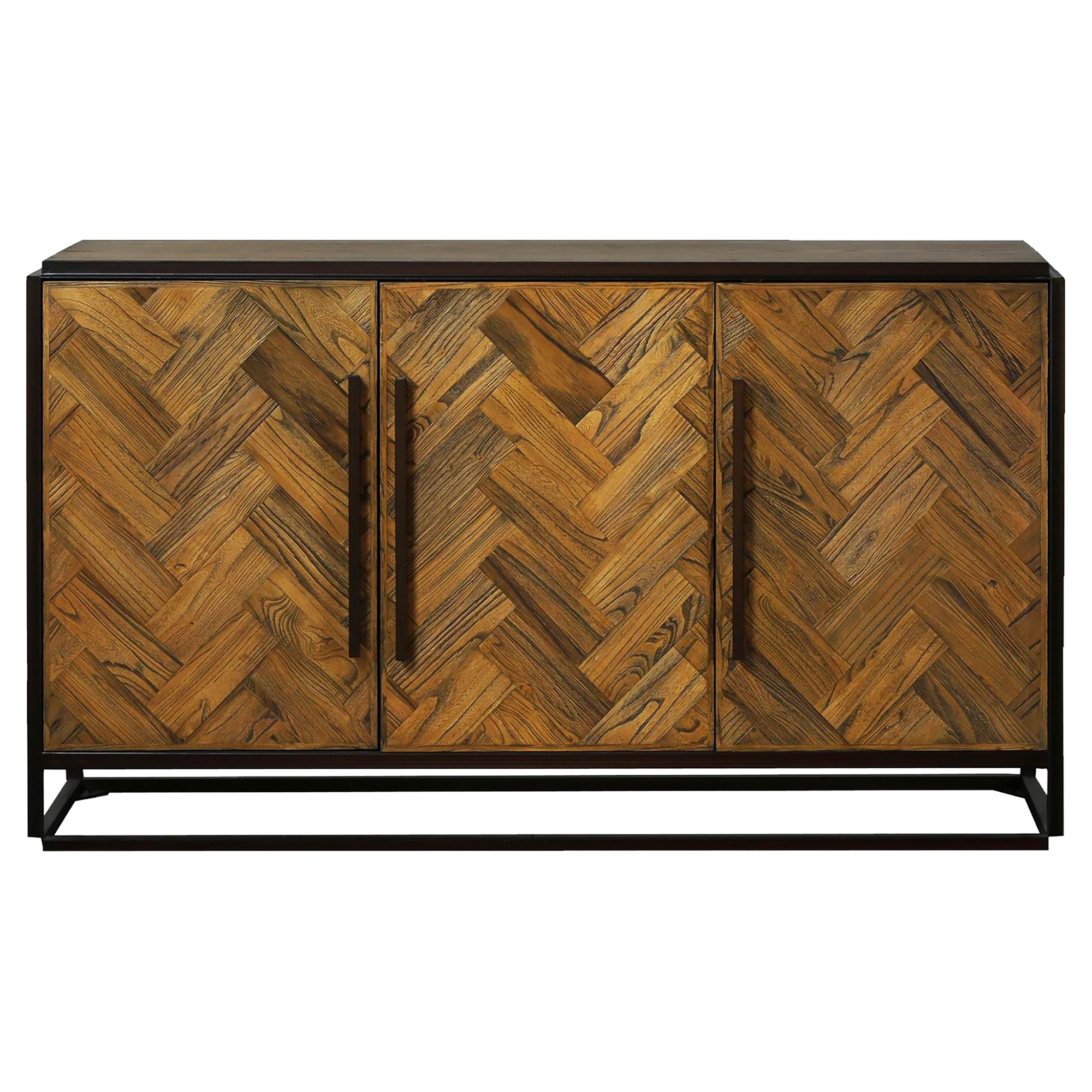 Parquet Reclaimed Elm & Metal 3 Door Sideboard, 152cm