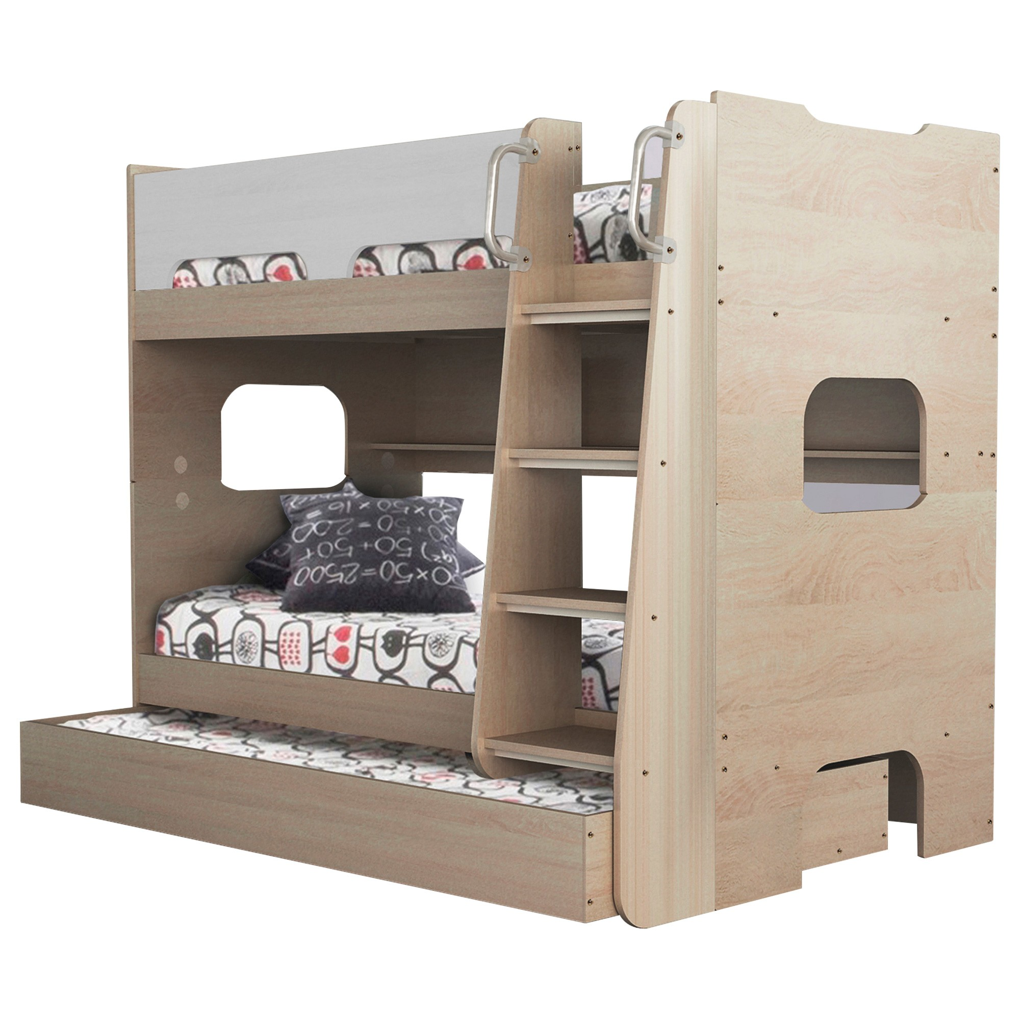 Sidney Bunk Bed with Shelf & Trundle, Single