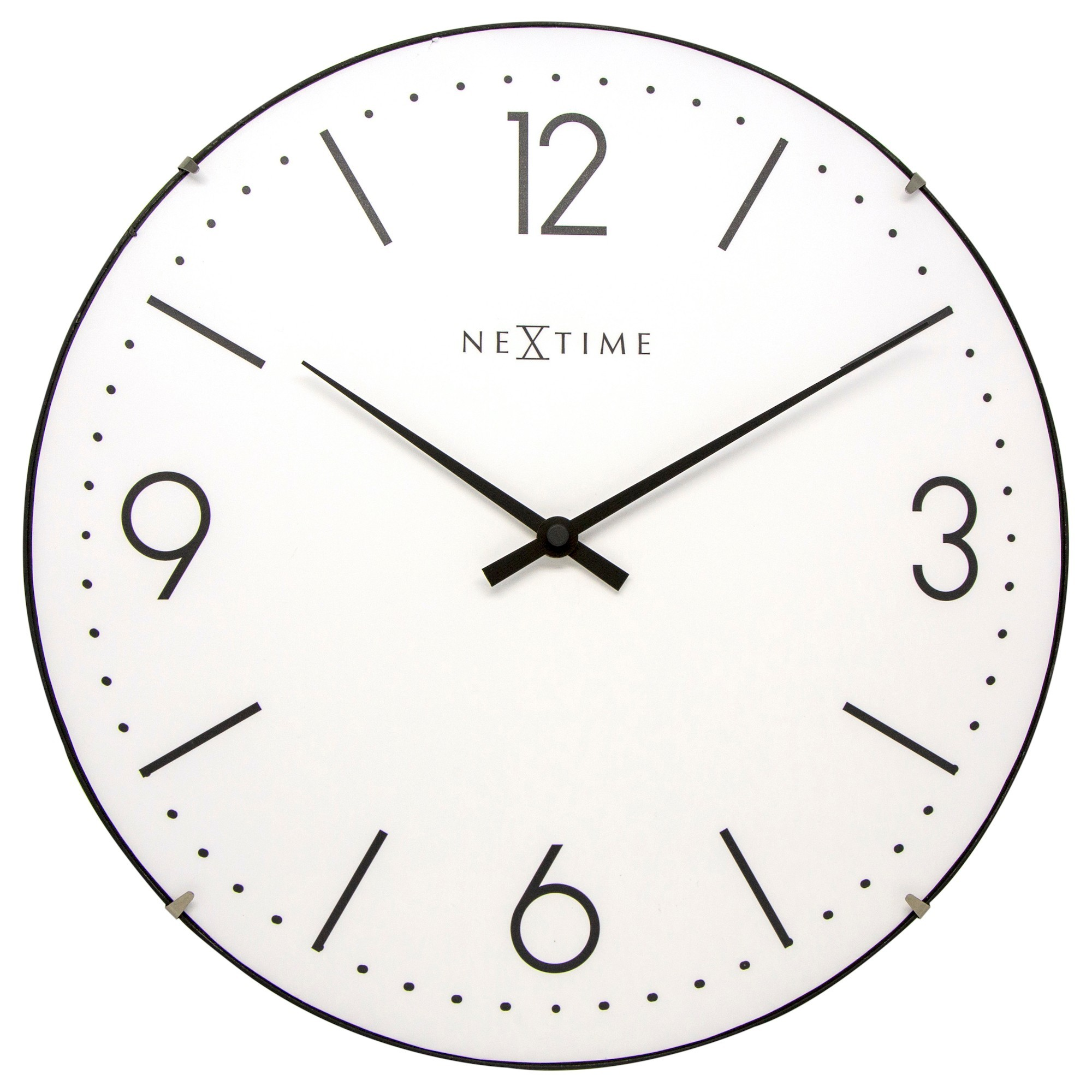 Nextime Basic Glass Dome Round Wall Clock, 35cm, White