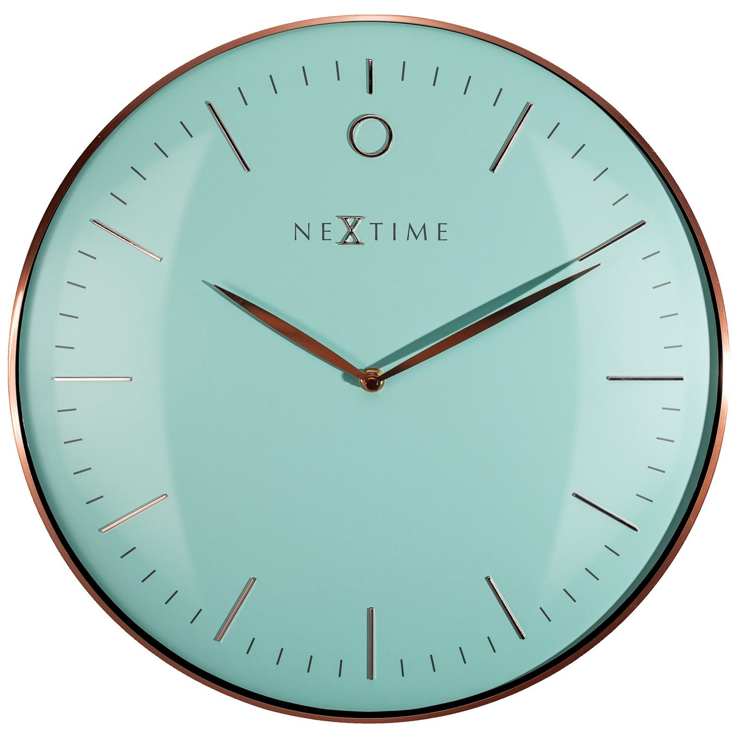 NeXtime Glamour Metal Frame Wall Clock, 40cm, Turquoise / Rose Gold