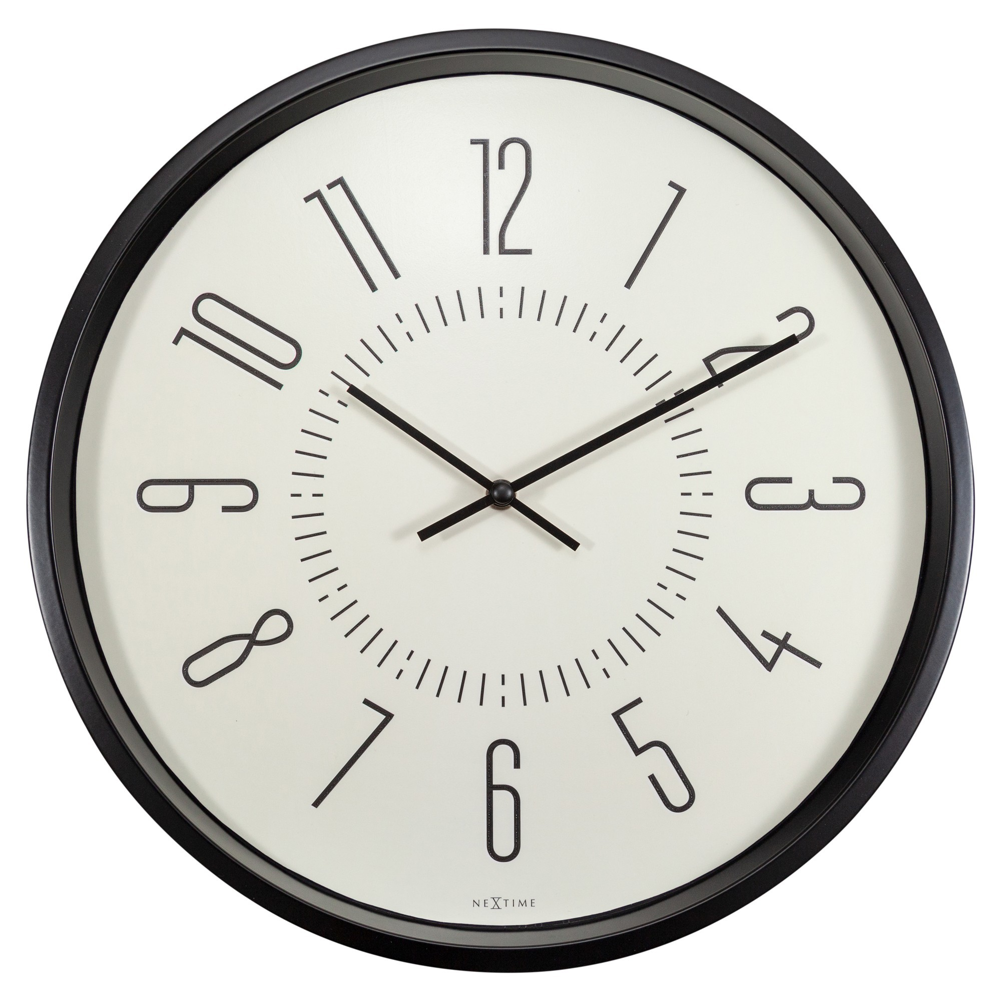NeXtime Aurora Metal Frame Luminous Round Wall Clock, 35cm, White / Black