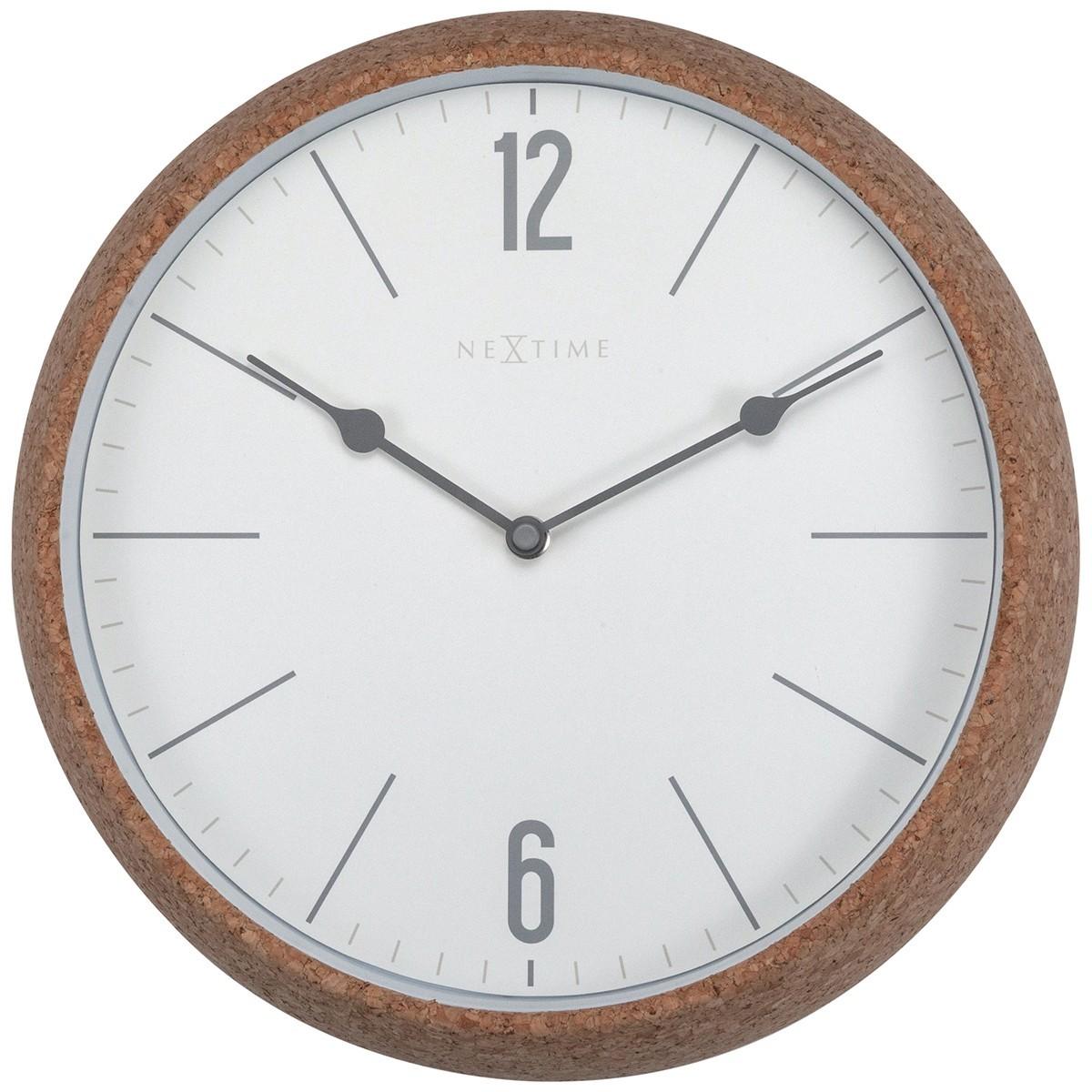 NeXtime Cork Frame Round Wall Clock, 30cm, White