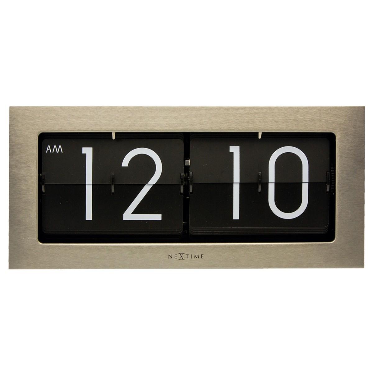 Nextime Big Flip Wall / Table Clock, 36cm, Silver