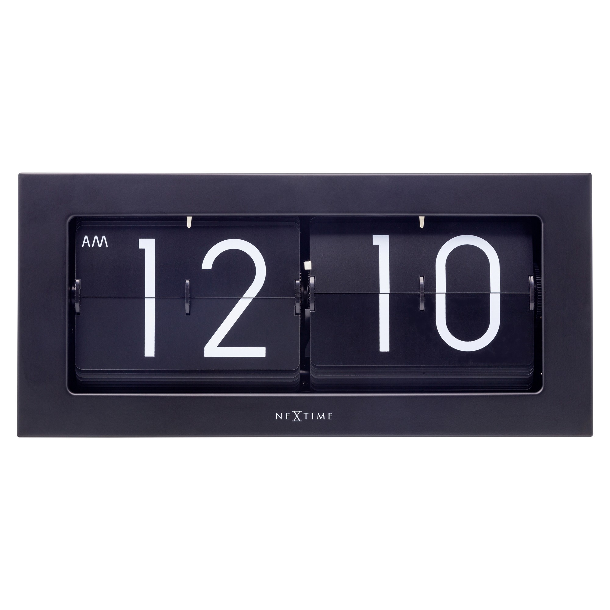 Nextime Big Flip Metal Wall / Table Clock, 36cm, Black