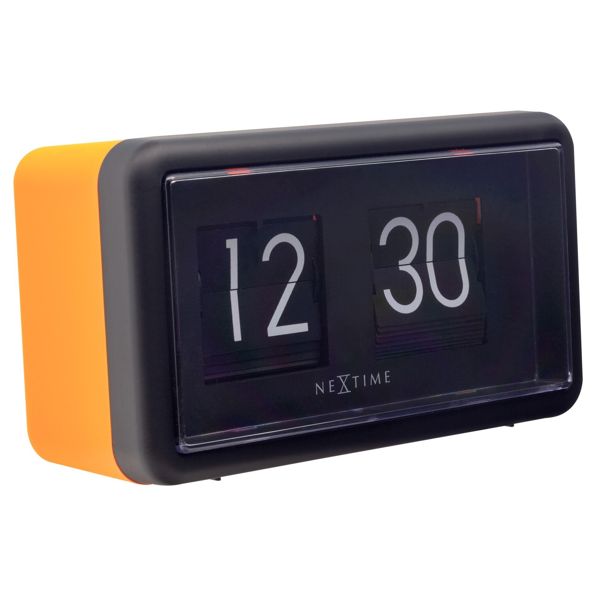 NeXtime Small Flip Wall / Table Clock, 18cm, Black / Orange