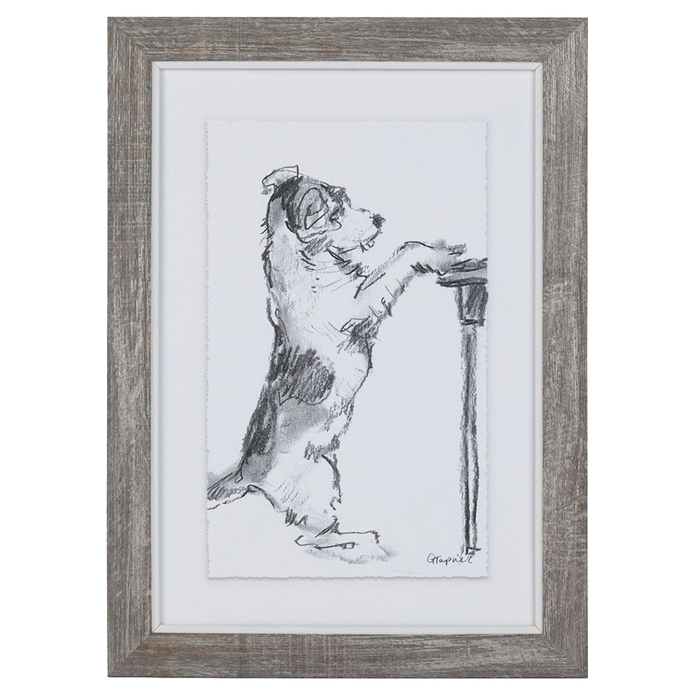 Dog Sketch Series Framed Wall Art, Paw Prints, 36cm