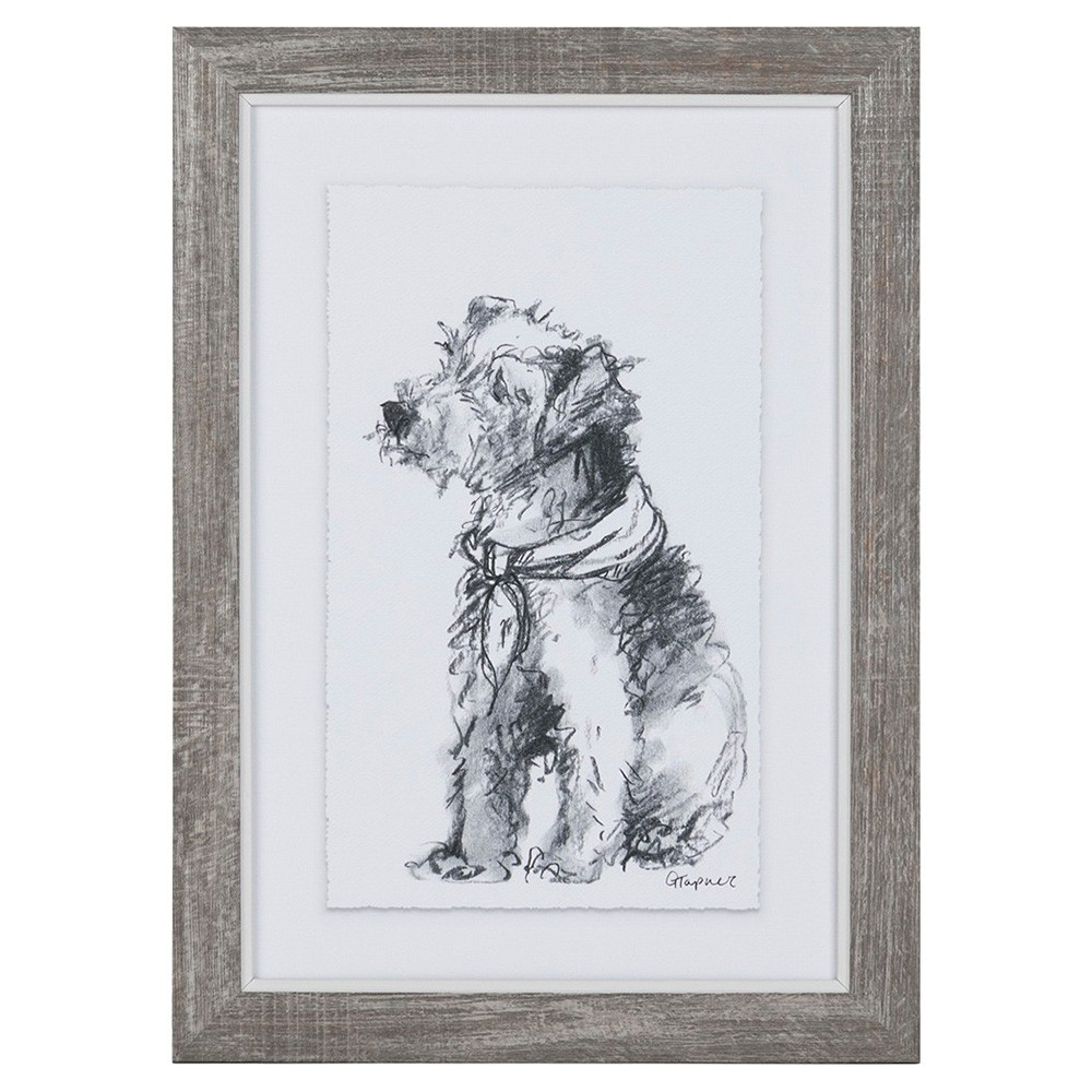 Dog Sketch Series Framed Wall Art, Dressed Up, 36cm
