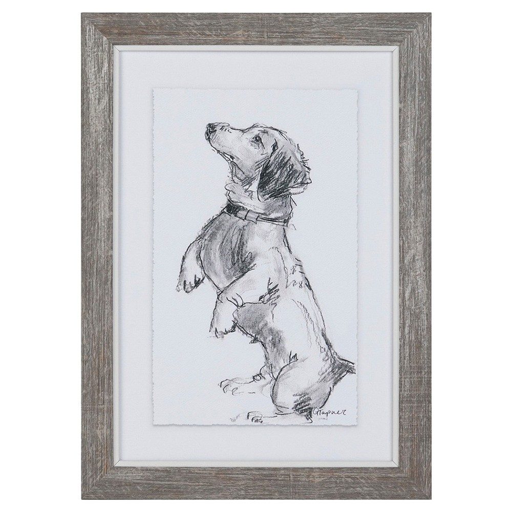 Dog Sketch Series Framed Wall Art, Treat Time, 36cm