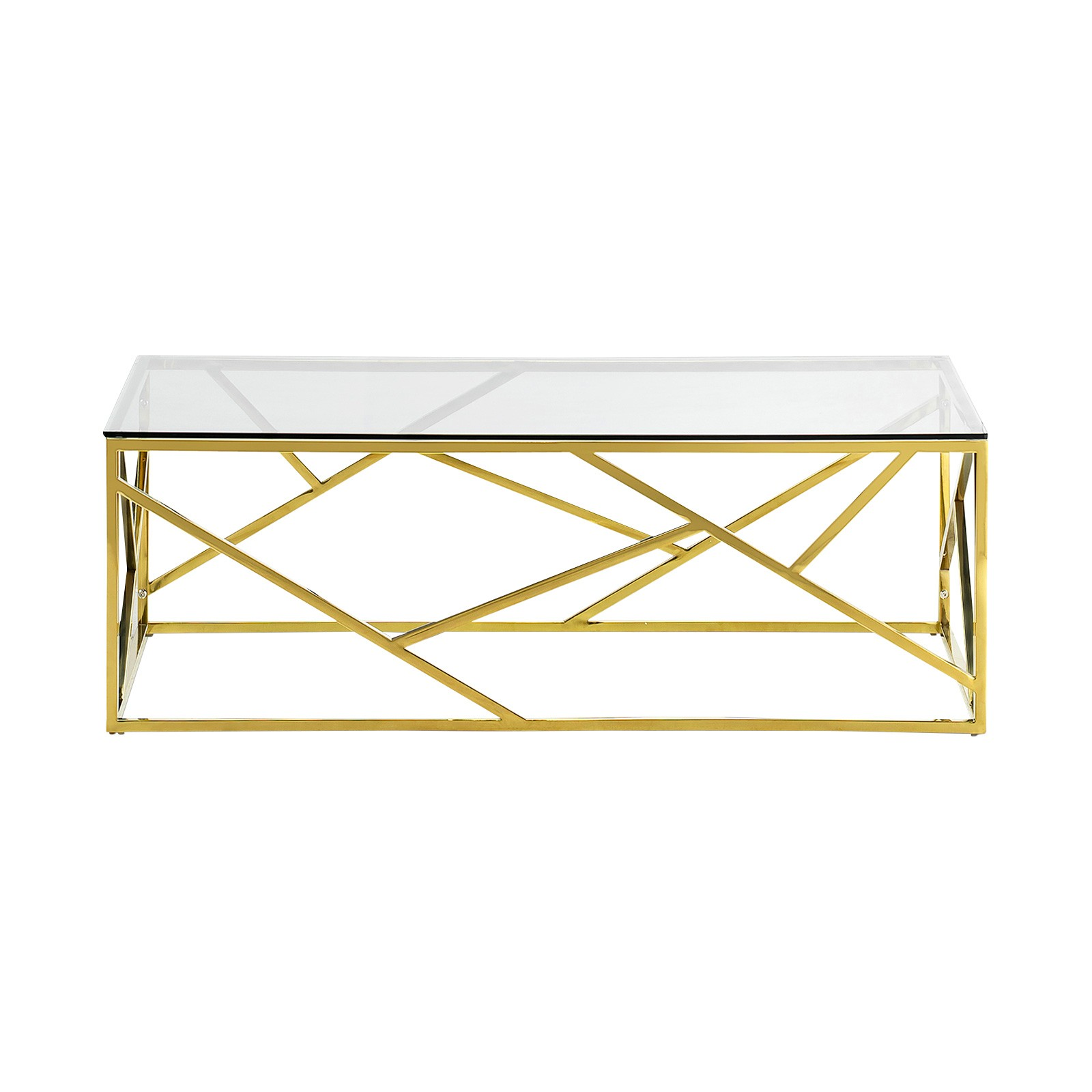 Elena Tempered Glass & Stainless Steel Coffee Table, 120cm