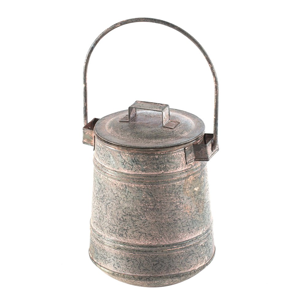 Oroya Metal Lidded Jar with Handle