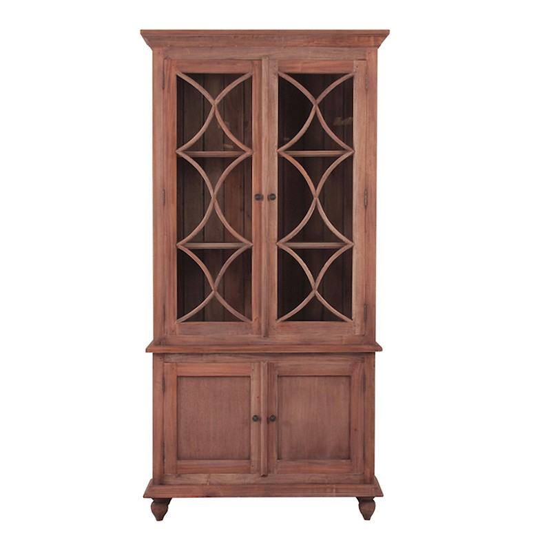 Marseille Mahogany Timber 4 Door Display Cabinet, Natural