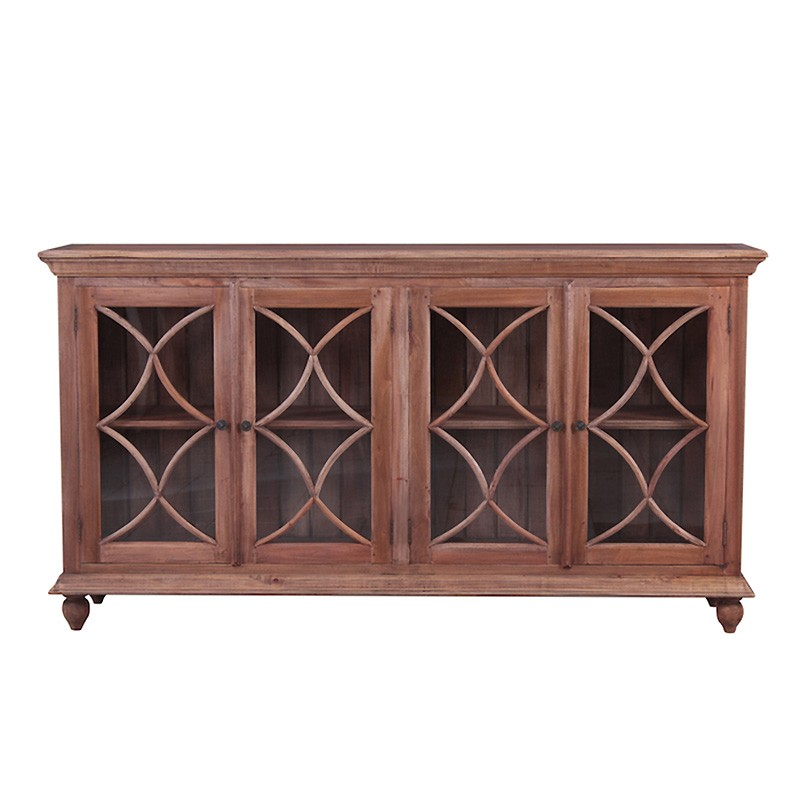 Marseille Mahogany Timber 4 Door Buffet Table, 208cm, Natural