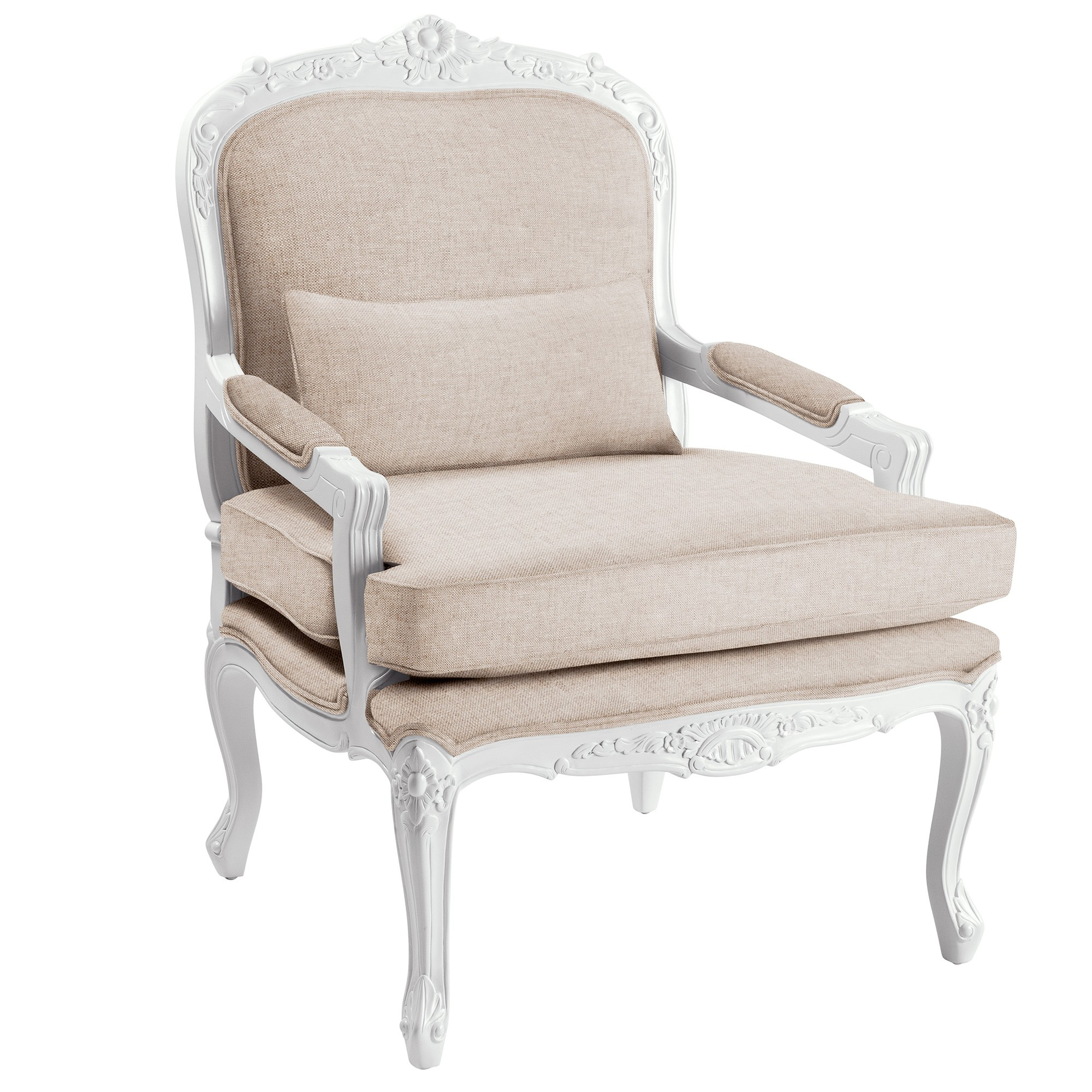 Chantilly Mahogany Timber & Fabric French Armchair