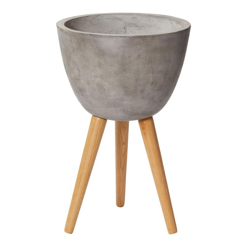 Austin Concrete Tripod Planter, Grey