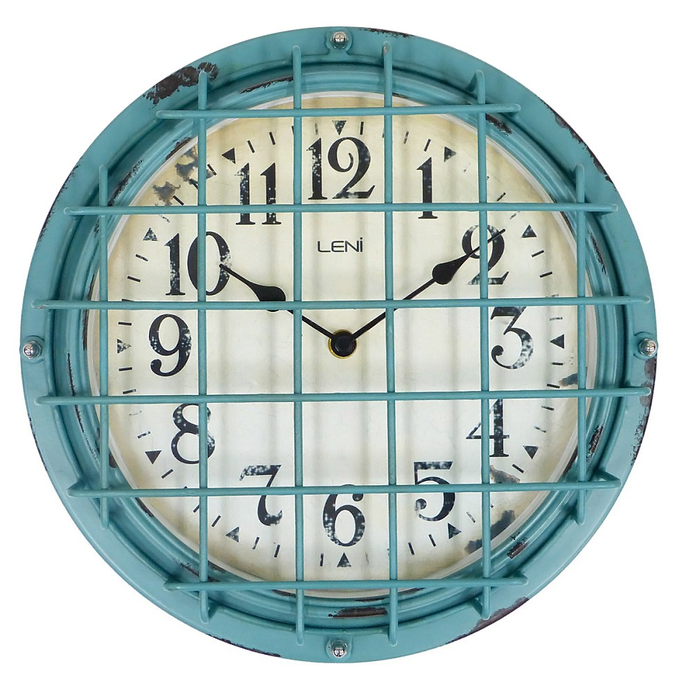 Leni Ayden Metal Caged Outdoor Round Wall Clock, 30cm