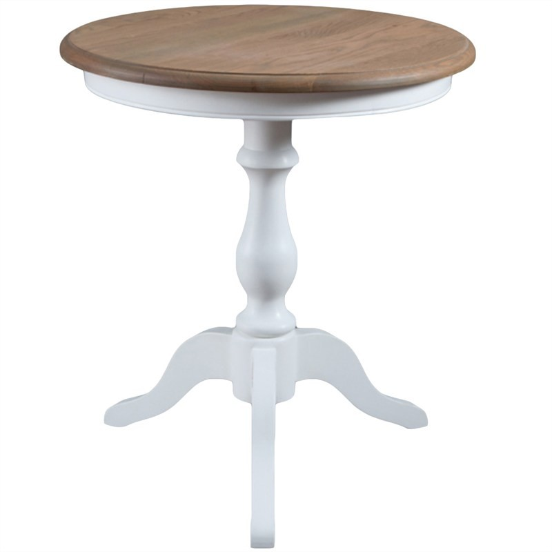 Rolland Hand Made Solid Oak Timber Round Side Table - White/Natural