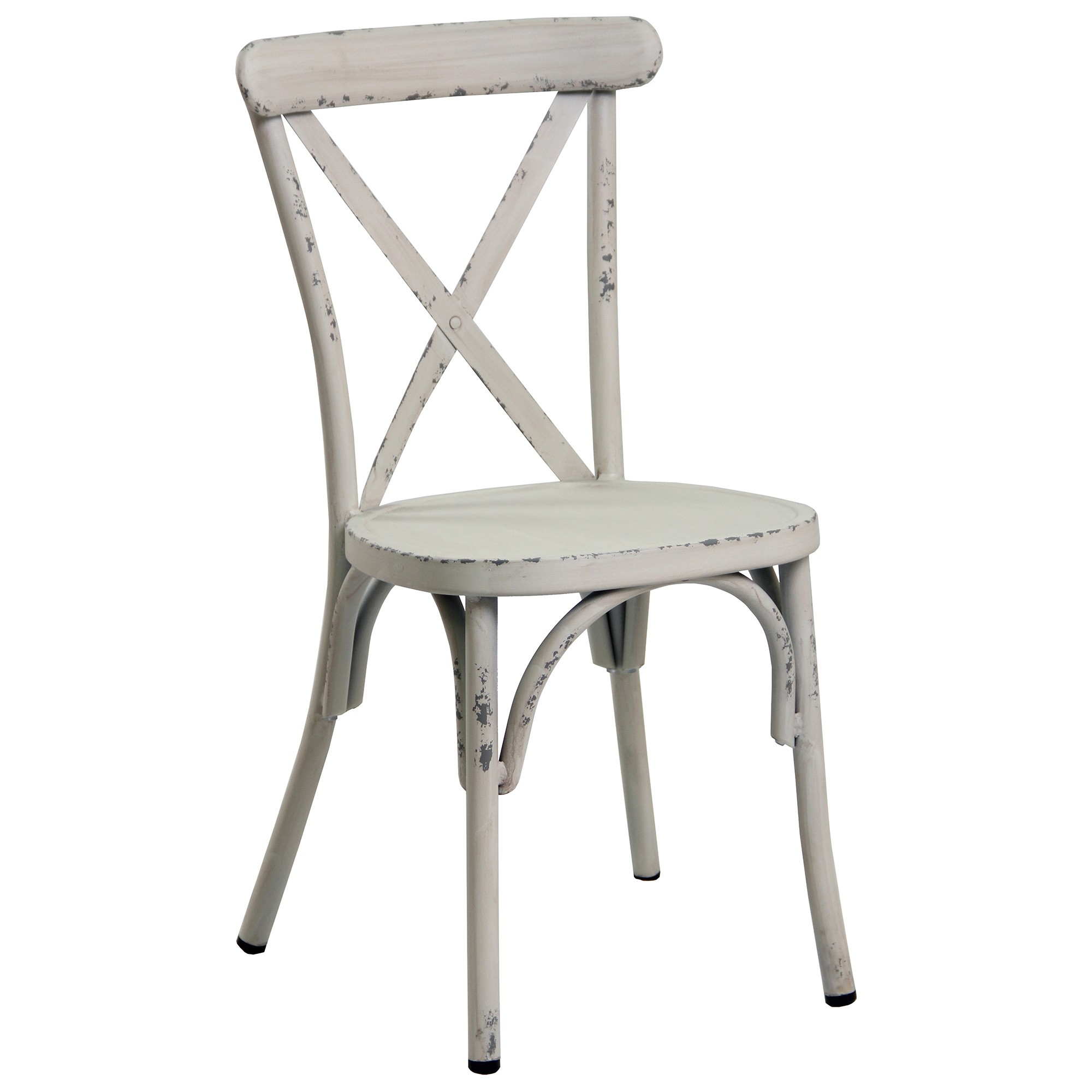 Set of 2 Ochey Commercial Grade Aluminium Indoor / Outdoor Cross Back Dining Chairs, Distressed White