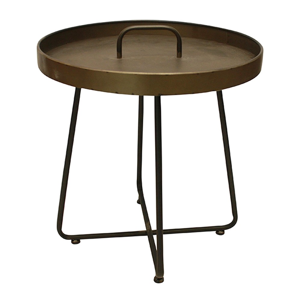 Moye Metal Round Tray Top Side Table