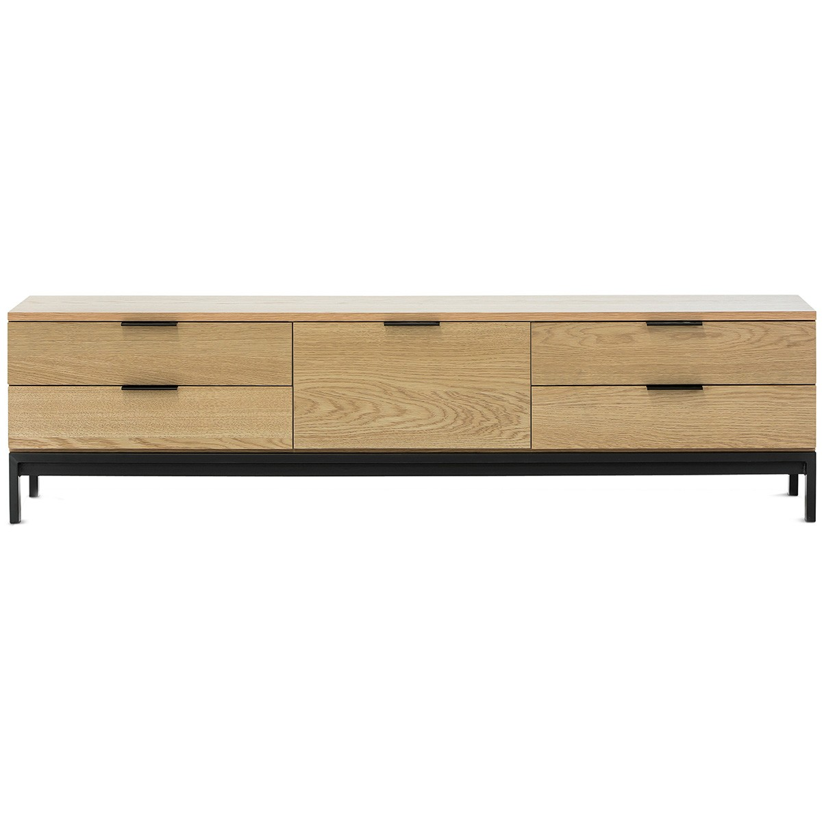 Macy 4 Drawer & Drop Door TV Unit, 170cm, Oak