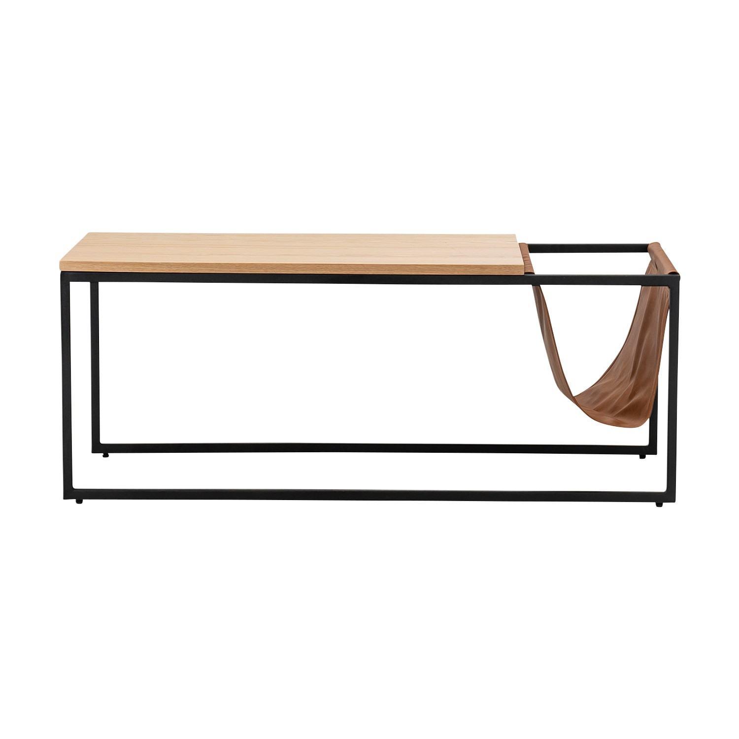 Macy Wood & Stainless Steel Coffee Table with Magazine Satchel Sling, 120cm