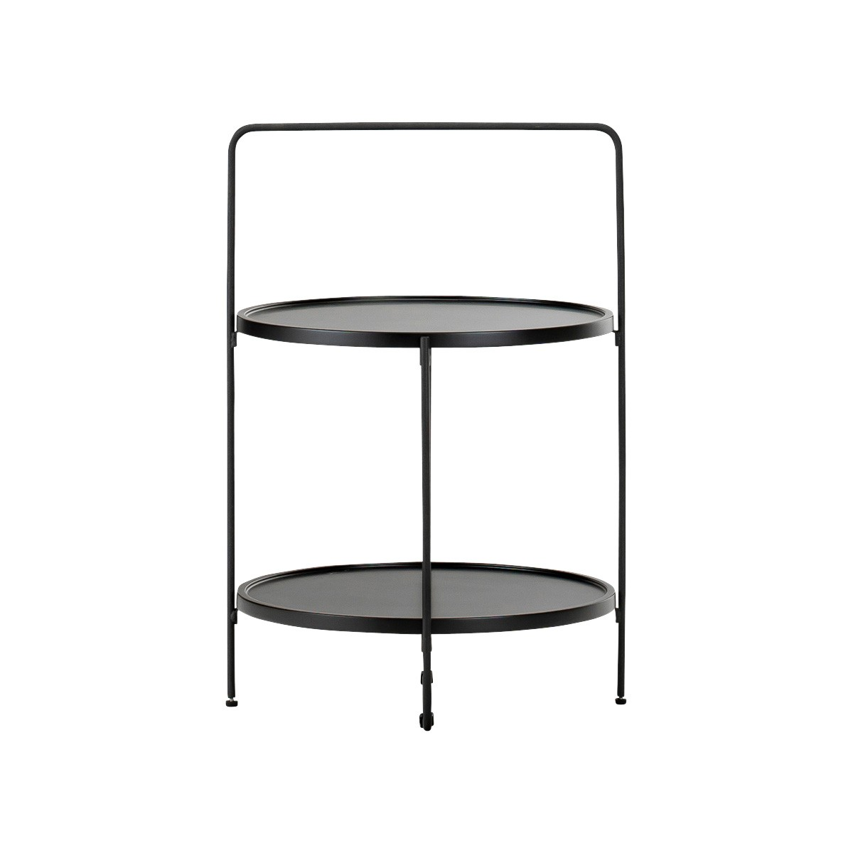 Tae Wood & Stainless Steel Round Tray Top Side Table, Black