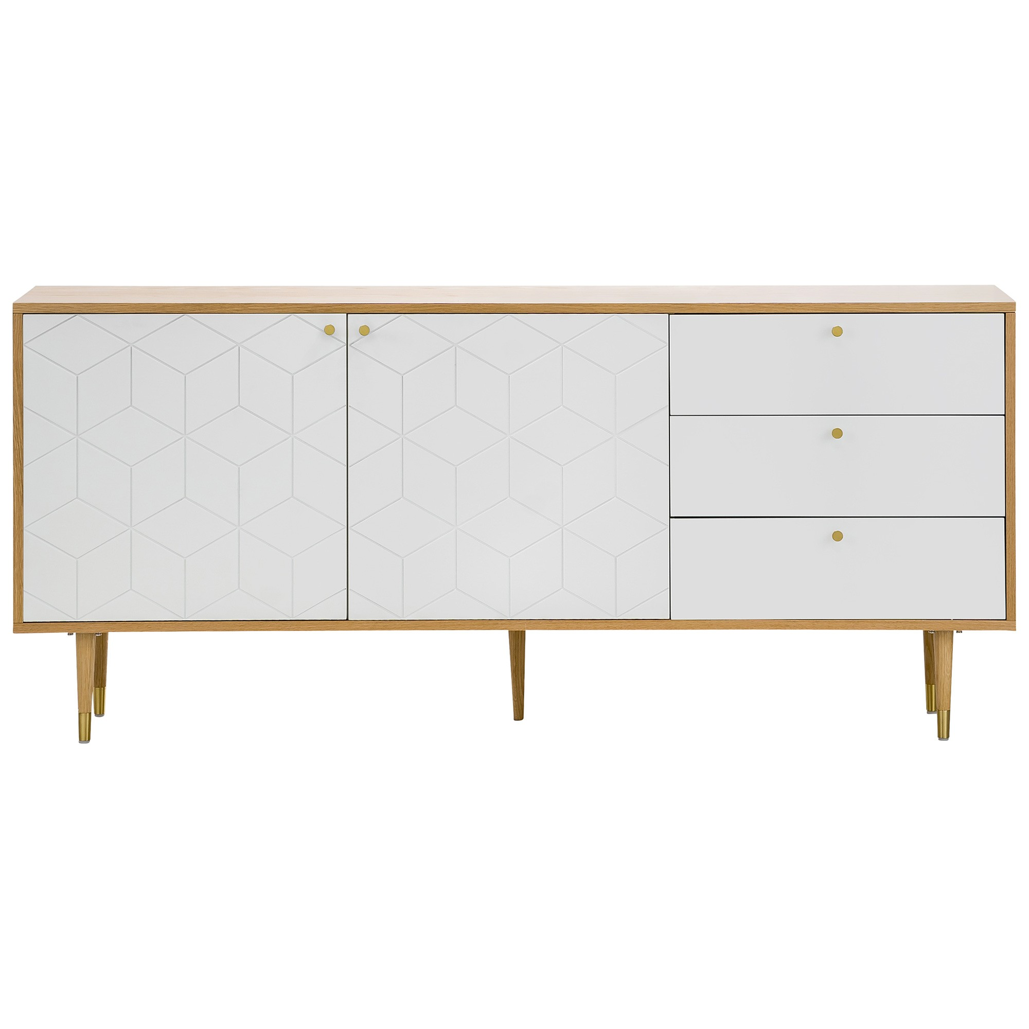 Hexii 2 Door 3 Drawer Sideboard, 180cm, Oak / White