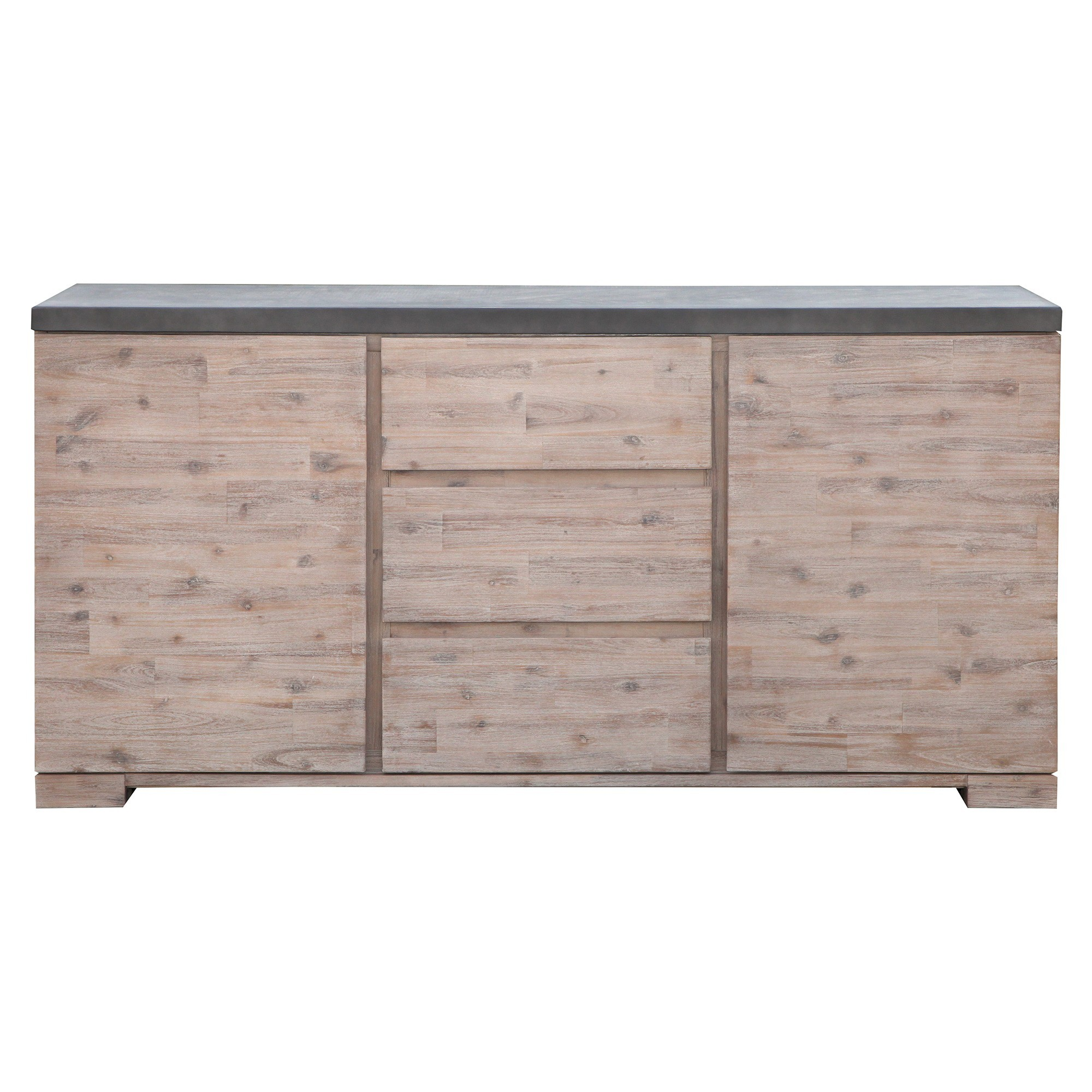 Pesaro Concrete Top Acacia Timber 2 Door 3 Drawer Buffet Table, 160cm