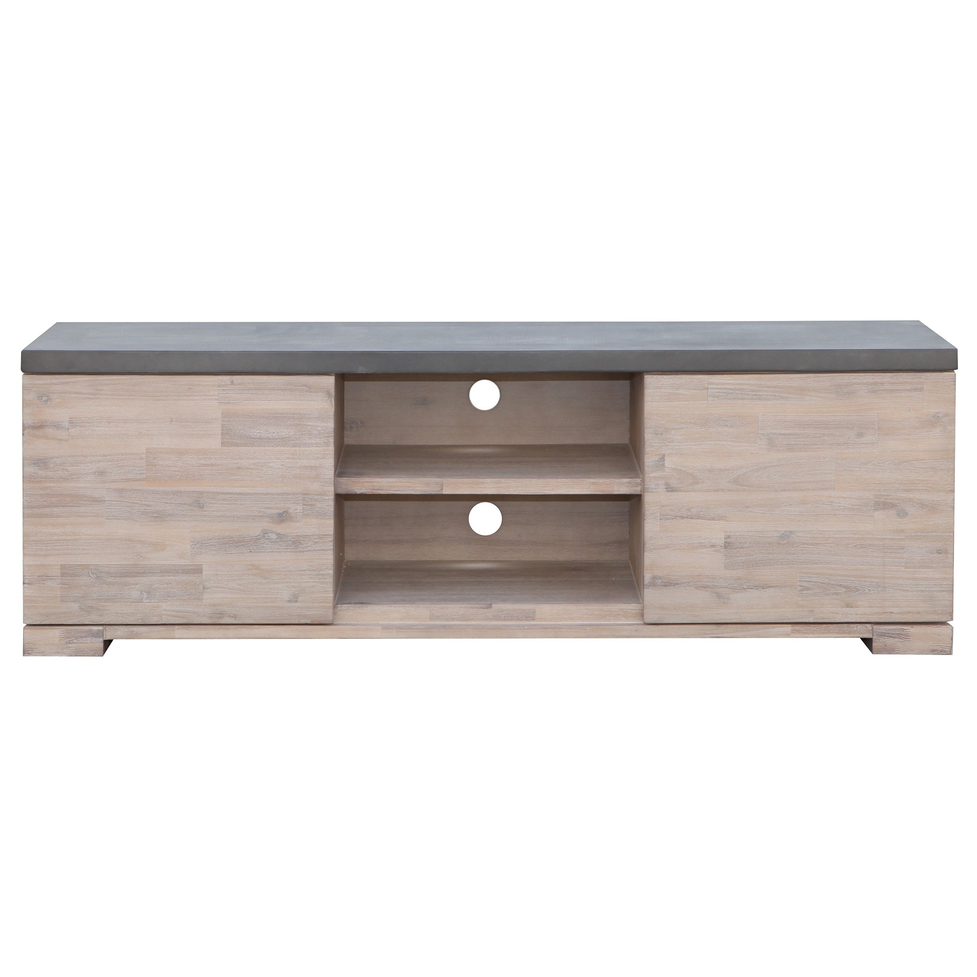 Pesaro Concrete Top Acacia Timber 2Door Lowline TV Unit, 165cm